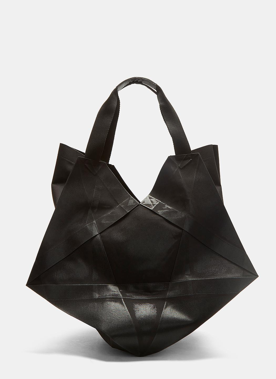 132 5. Issey Miyake Synthetic Standard 4 Origami Tote Bag In Black