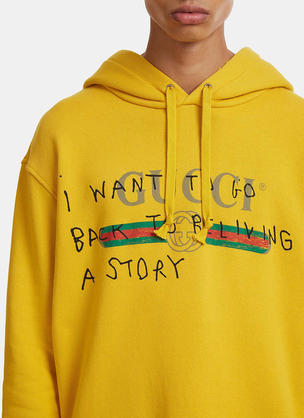 25488101206 Lyst - Gucci Story Hooded Sweater In Yellow in Yellow for Men