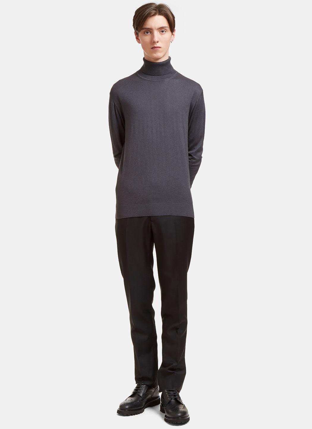 Dark Gray In Roll Lyst Grey Sweater Neck Ribbed Aiezen Men's wqAwnxva0f