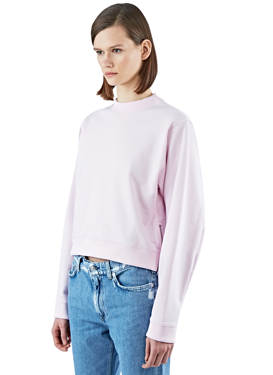 lyst acne studios women 39 s bird u zipped fleece sweater in pink in pink. Black Bedroom Furniture Sets. Home Design Ideas