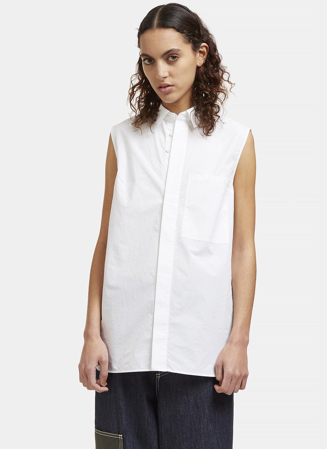 Acne Women 39 S Belevue Sleeveless Shirt In White In White Lyst