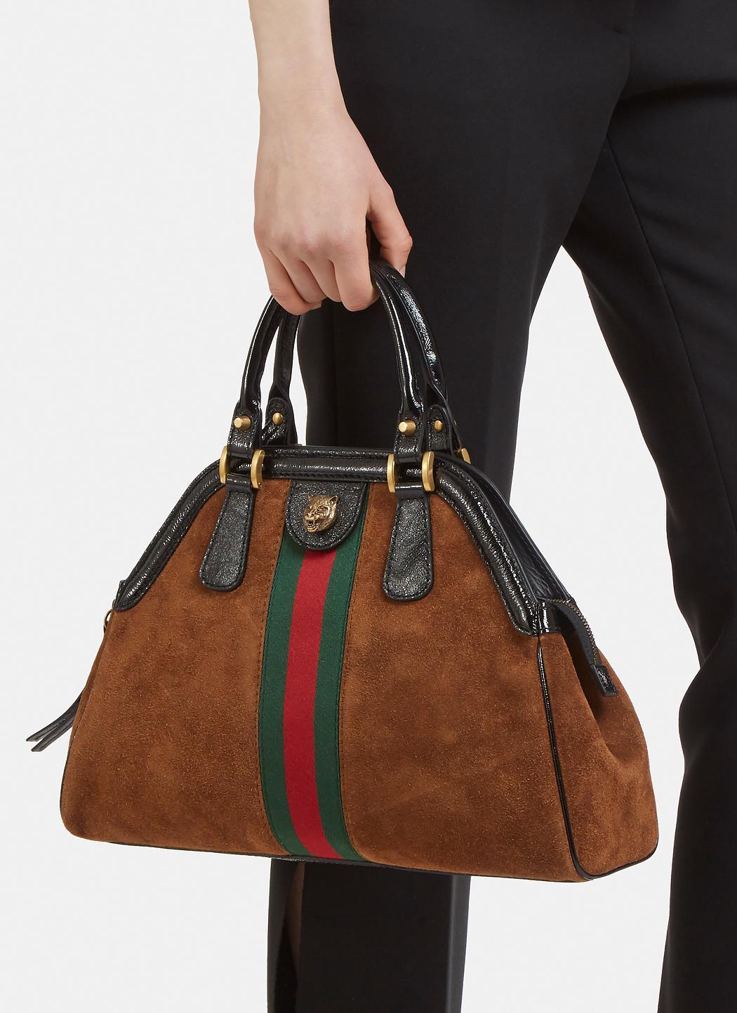 645f67f15 Gucci Re(belle) Web Stripe Suede Cross Body Bag in Brown - Lyst