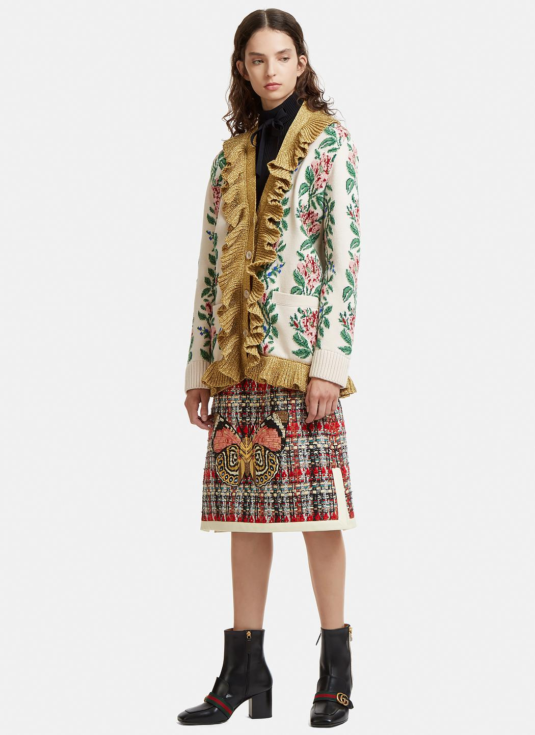 c5d9633310 Lyst - Gucci Embroidered Tweed Skirt In Red in Red
