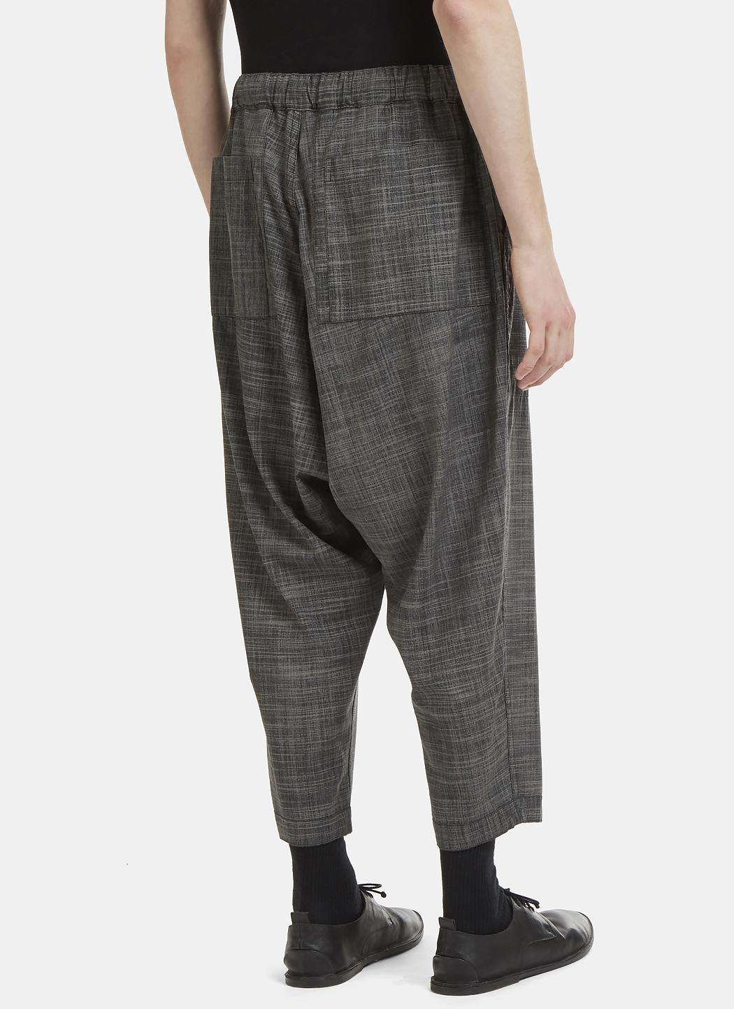 Issey Miyake Wool Reversible Dropped Crotch Slub Pants In Charcoal in Grey for Men