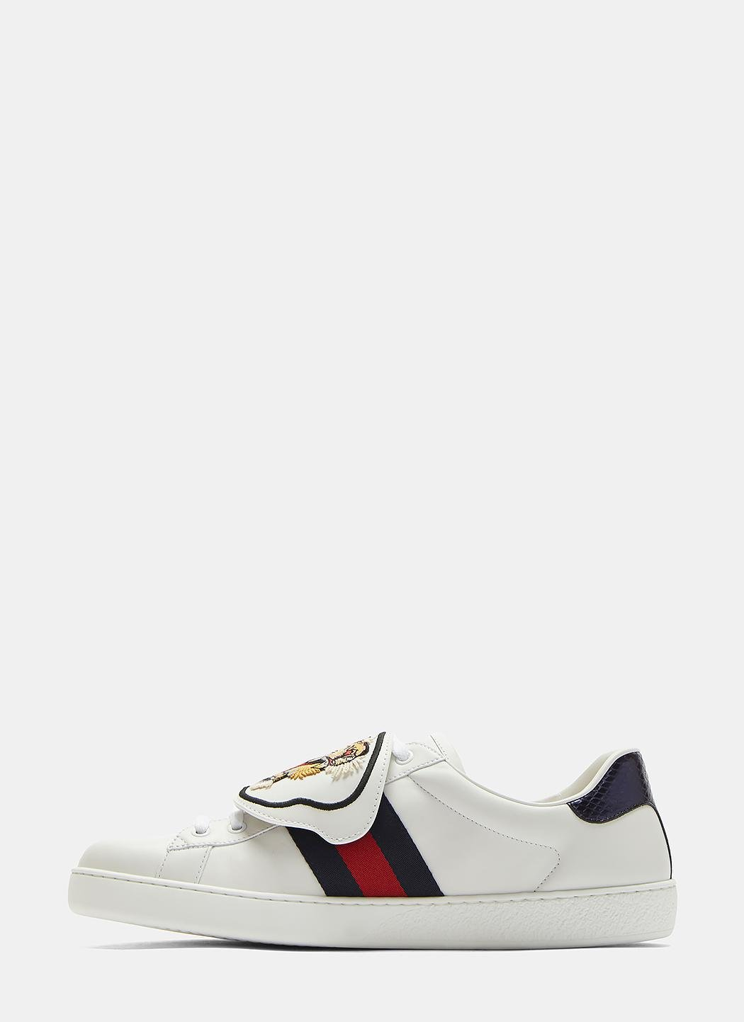 f928bb3dc Gucci Ace Removable Embroidered Tiger Patch Sneakers In White in ...