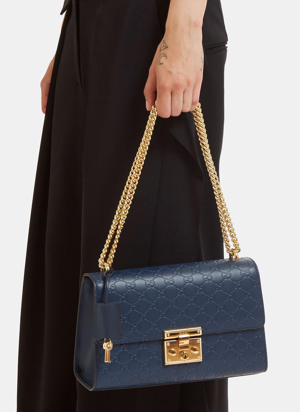 e0323ce71256 Lyst - Gucci Padlock Signature Shoulder Bag in Blue