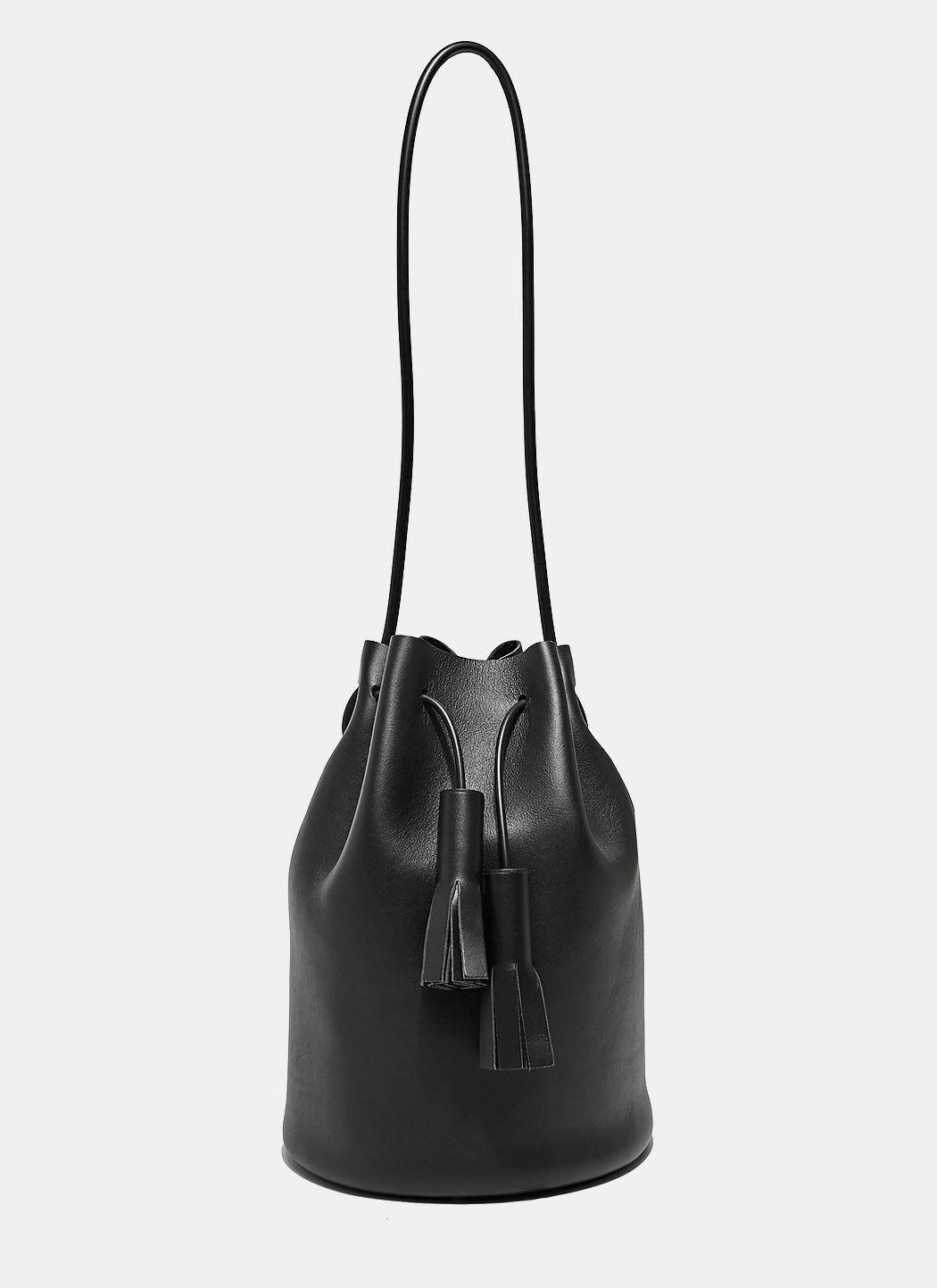 Building Block Women S Black Leather Bucket Bag