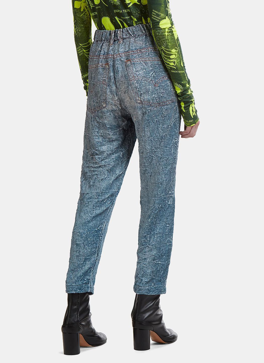 Anntian Denim Textured Fake Jeans In Blue