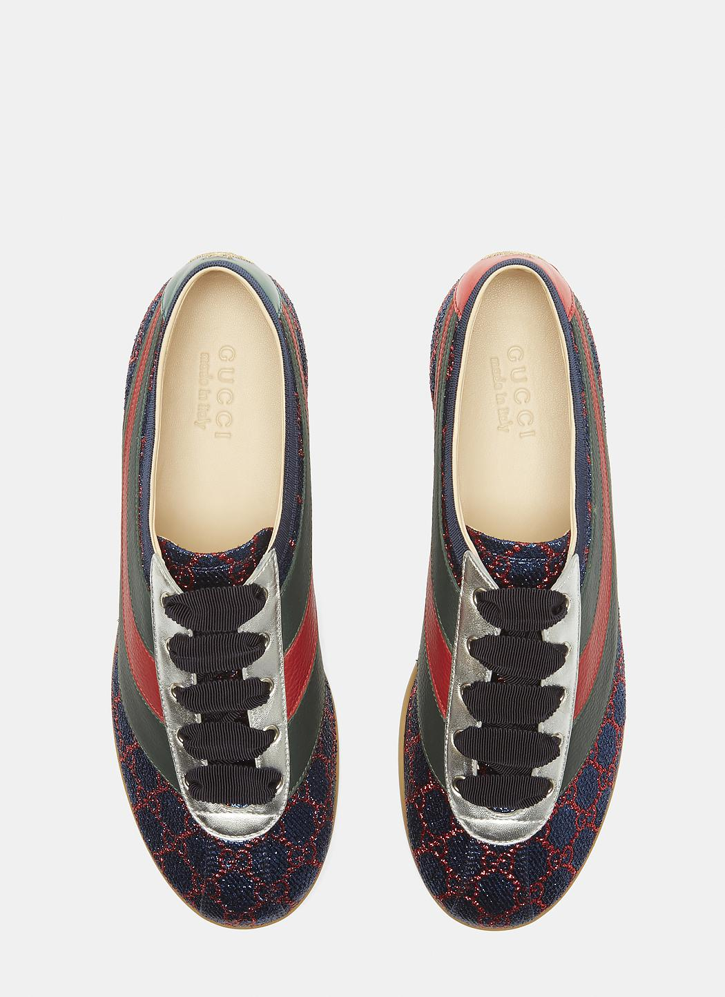 8cfa62d9882 Lyst - Gucci Falacer Lurex GG Sneaker With Web in Blue for Men