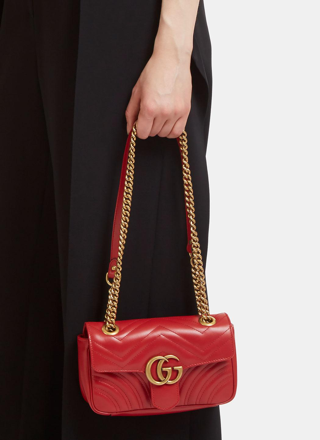 c7400015ba59 Gucci Gg Marmont Matelassé Mini Chain Shoulder Bag In Red in Red - Lyst