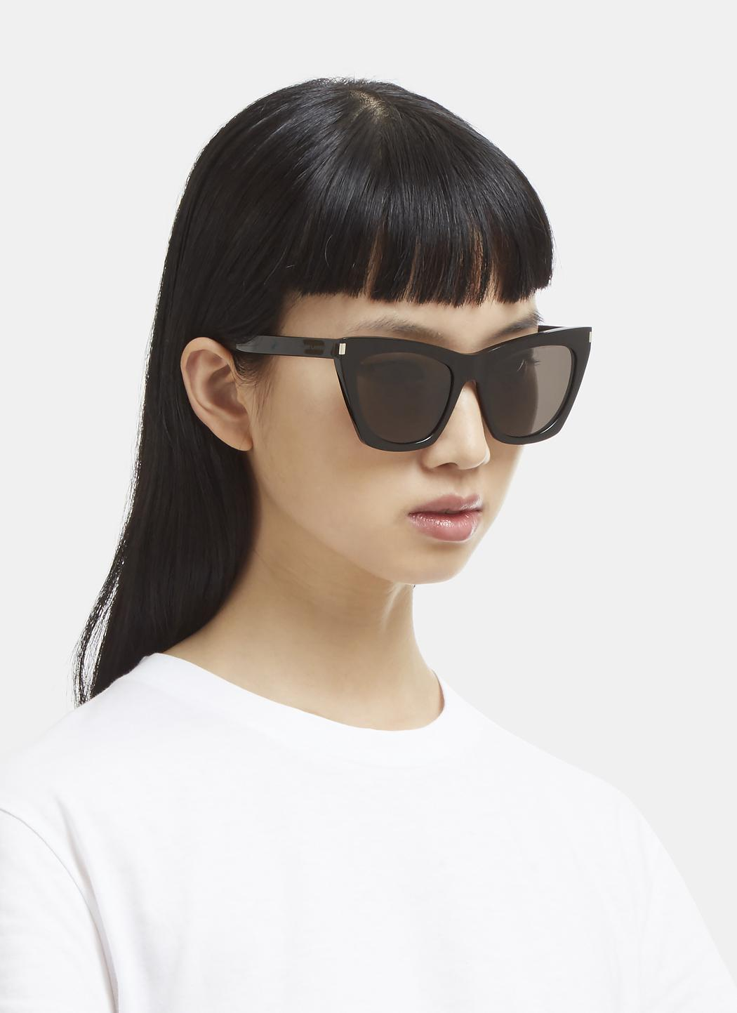 2e65354ce5 Saint Laurent - New Wave 214 Kate Sunglasses In Black - Lyst. View  fullscreen