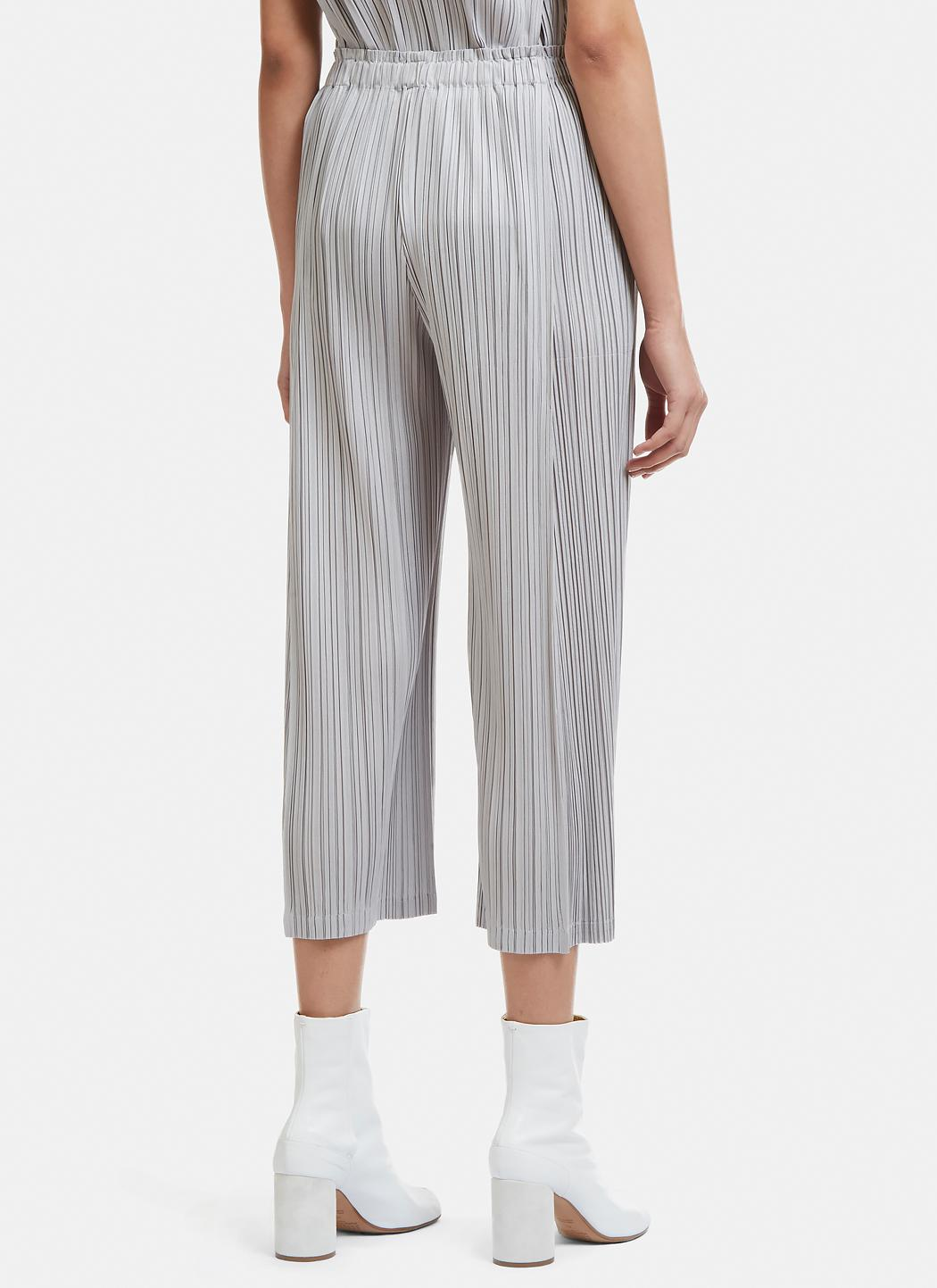 Pleats Please Issey Miyake Synthetic Cropped Pleated Pants In Grey in Grey