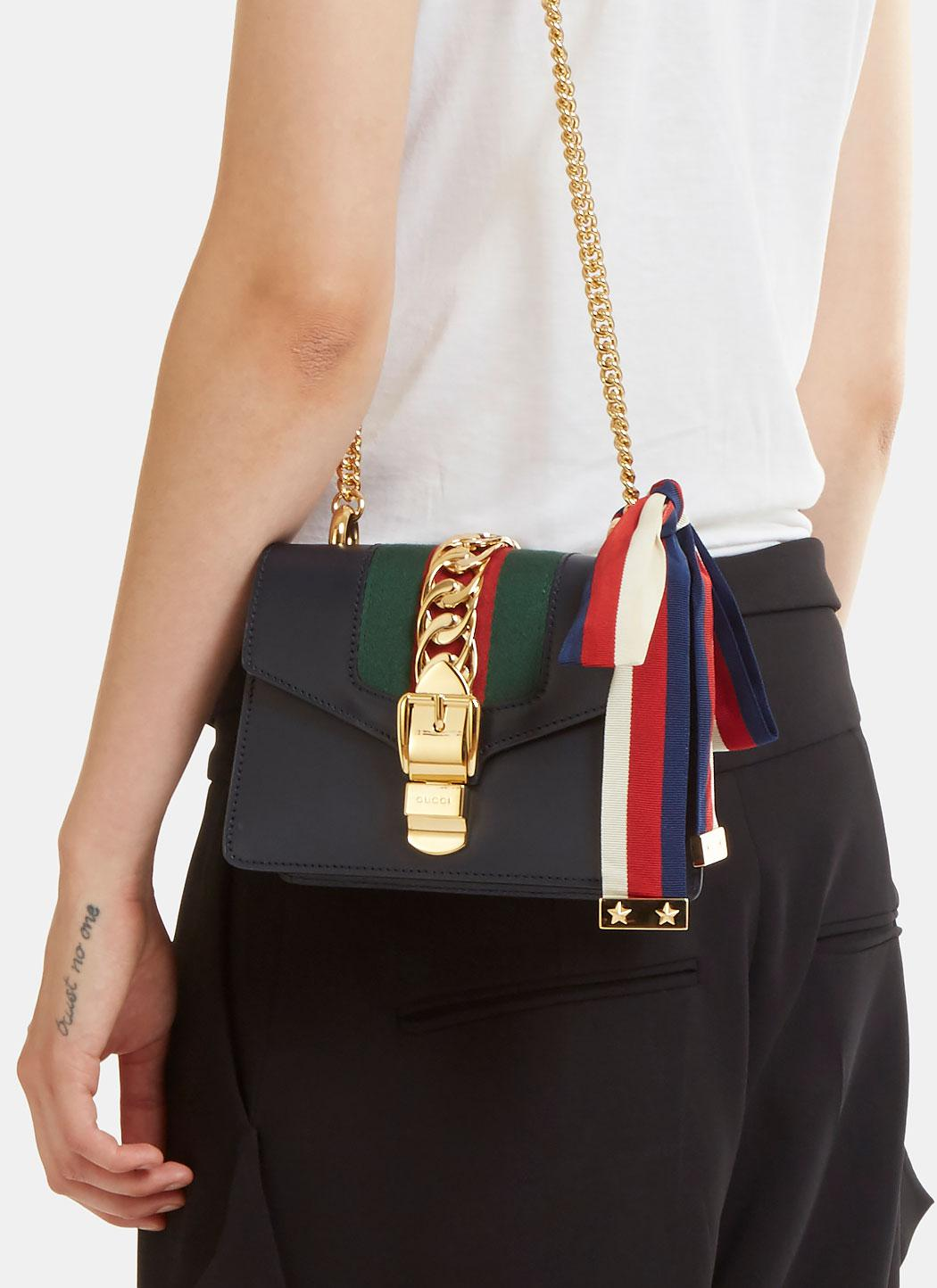 affb20e5a Gucci Sylvie Chain Mini Shoulder Bag In Navy in Blue - Lyst