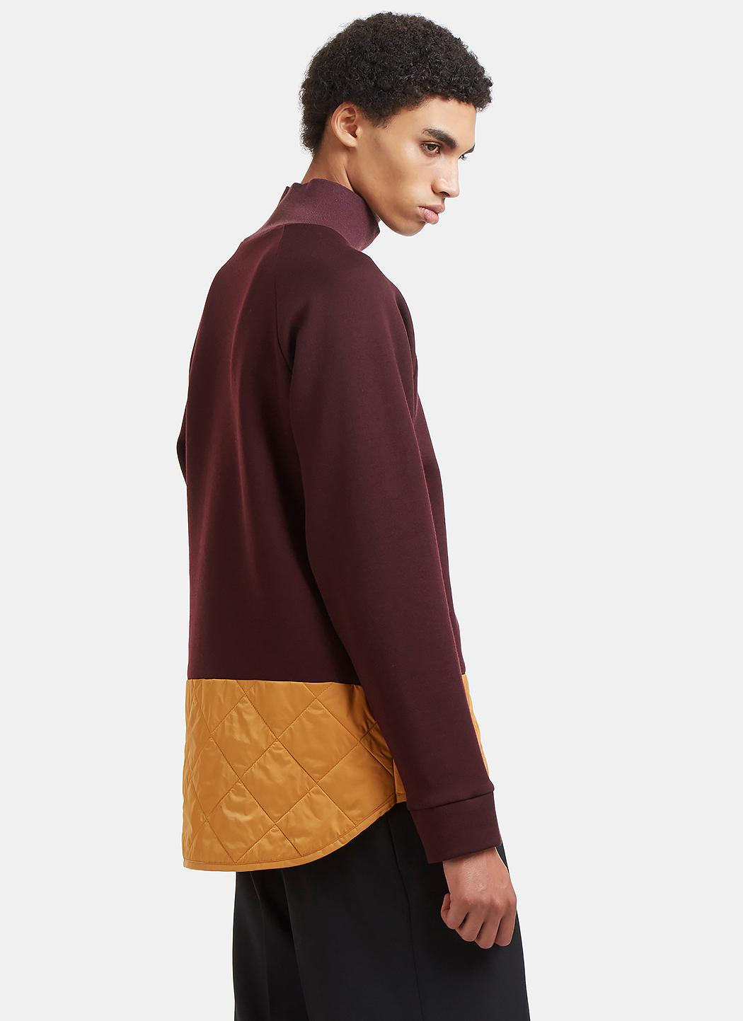 Marni Wool Diamond-quilted Roll Neck Sweater In Burgundy in Purple for Men