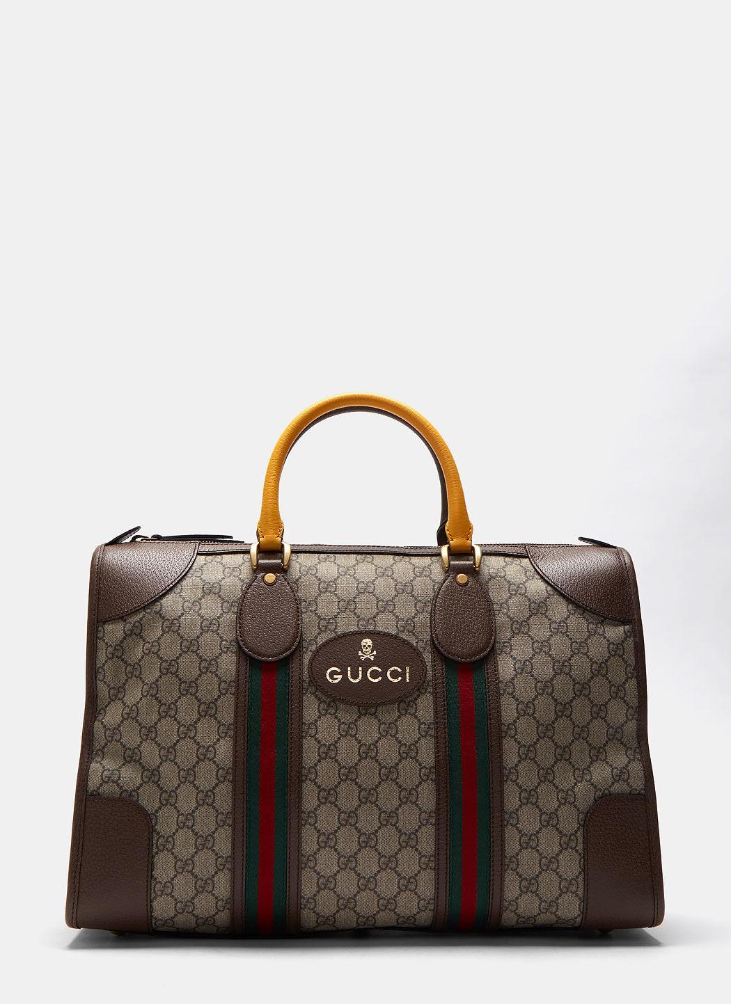 Lyst - Gucci Men s Neo Vintage Gg Supreme Print Webbing Duffle Bag ... 0c91709bb7a8e