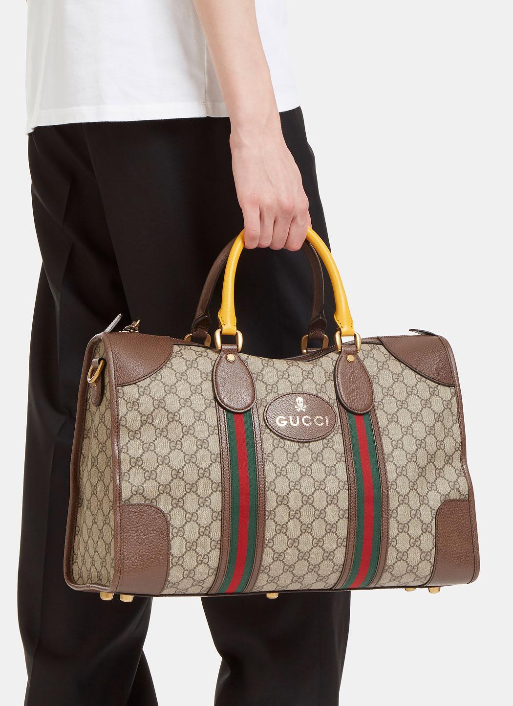 f33277564ba1 Gucci Men's Neo Vintage Gg Supreme Print Webbing Duffle Bag In Brown ...