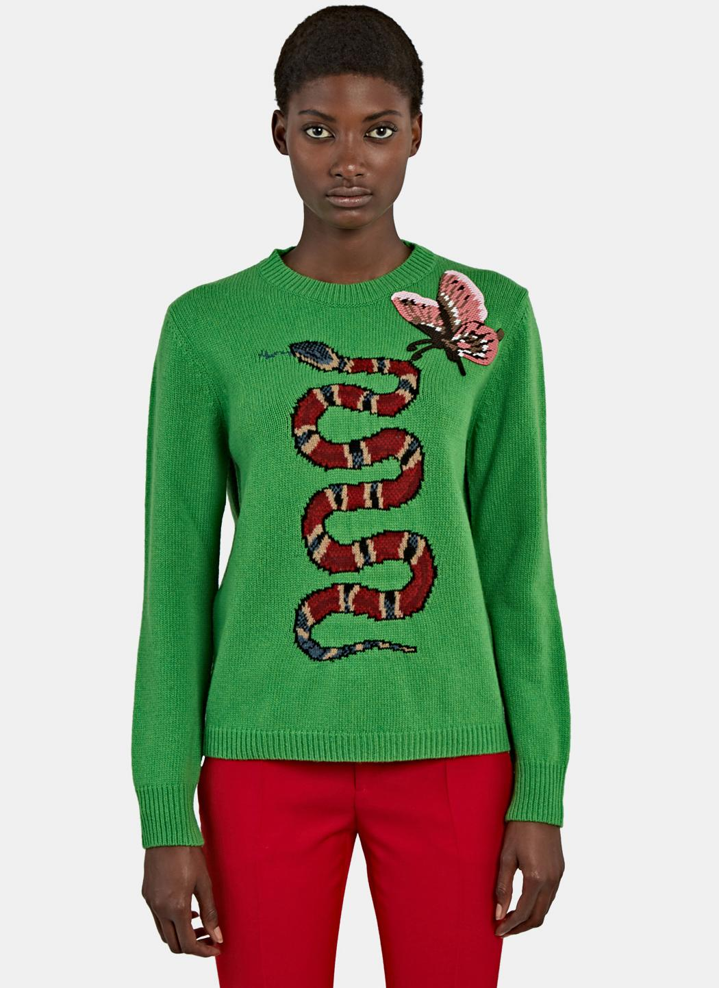 Lyst - Gucci Women s Snake Intarsia Knit Crew Neck Sweater In Green 98ff04745