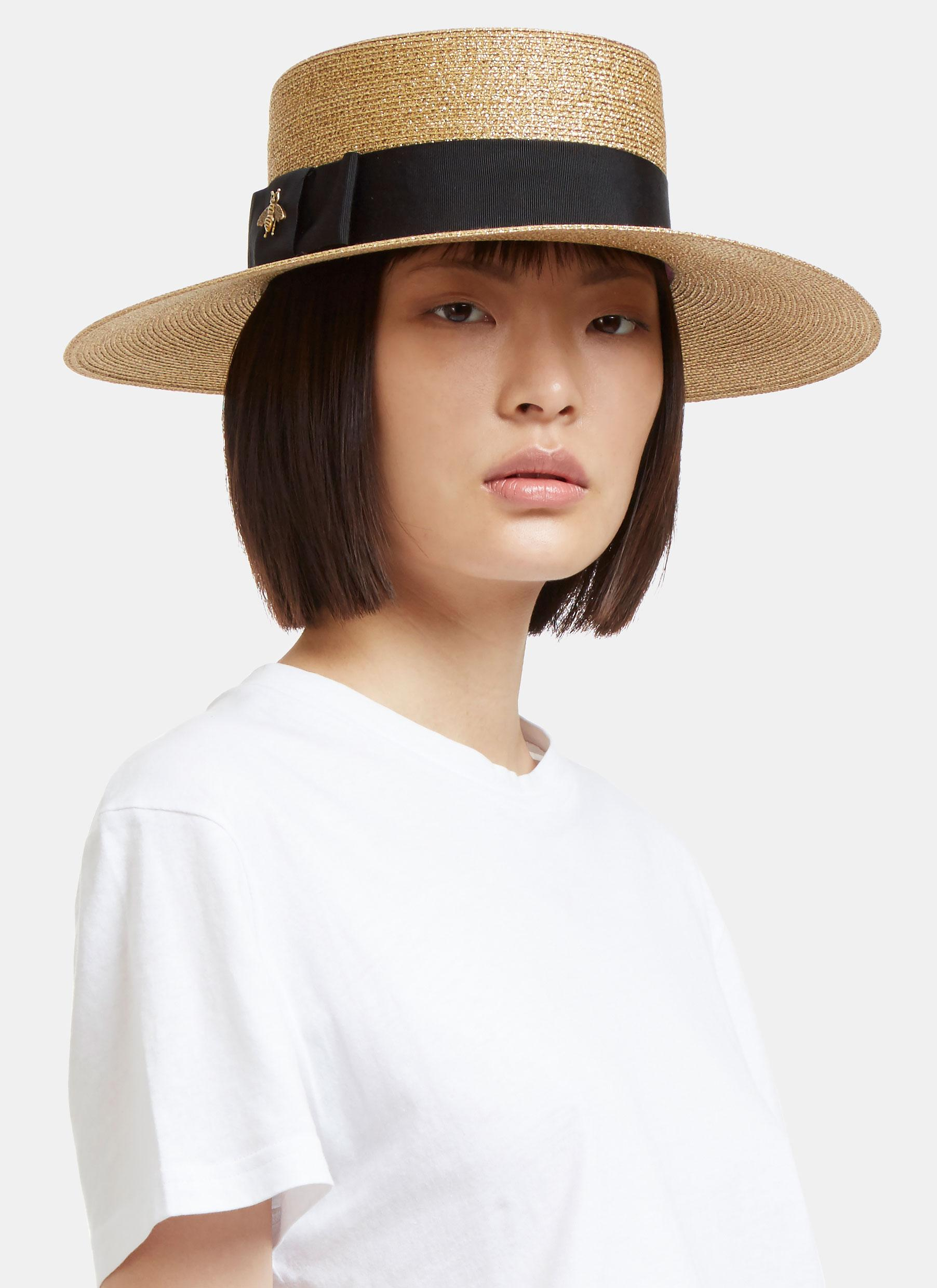 812cddb285b7b Gucci Women s Alba Lurex Papier Hat In Gold in Metallic - Lyst