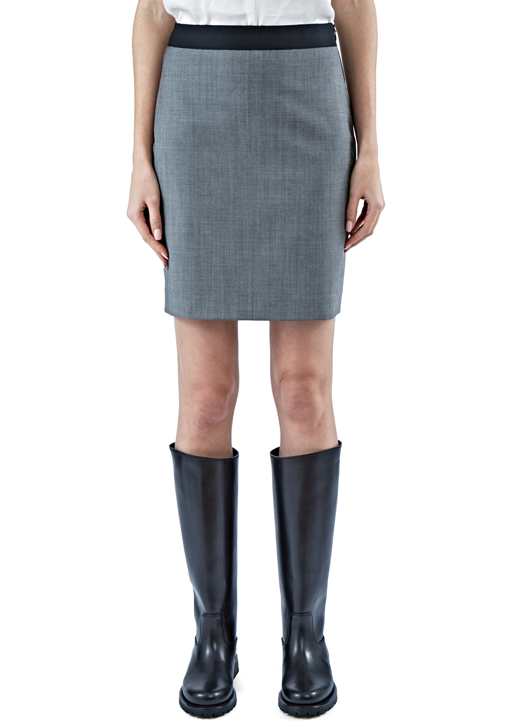 lanvin s suiting pencil skirt in light grey in