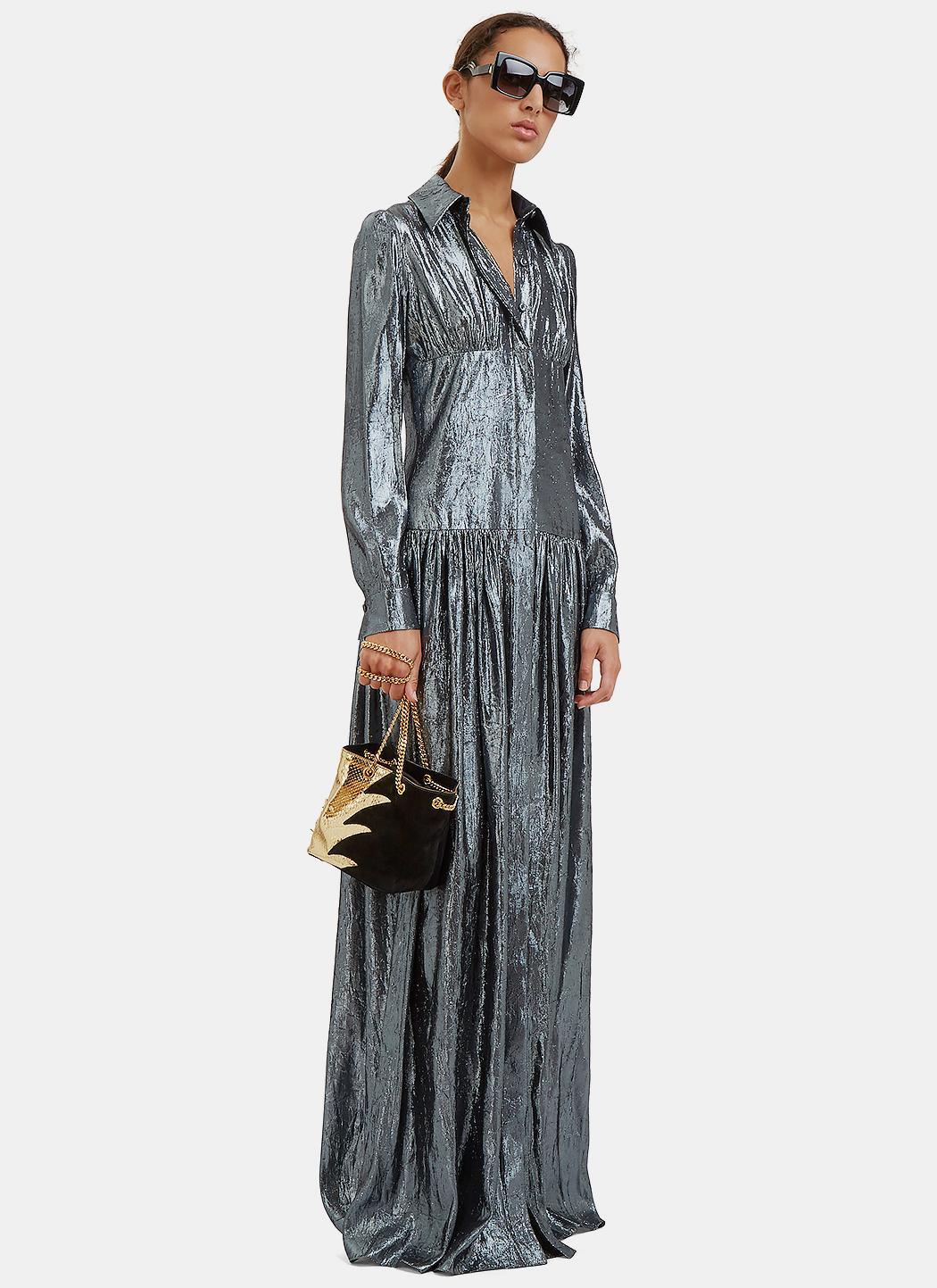 Lanvin women 39 s long metallic lurex shirt dress in silver for Silver metallic shirt women s