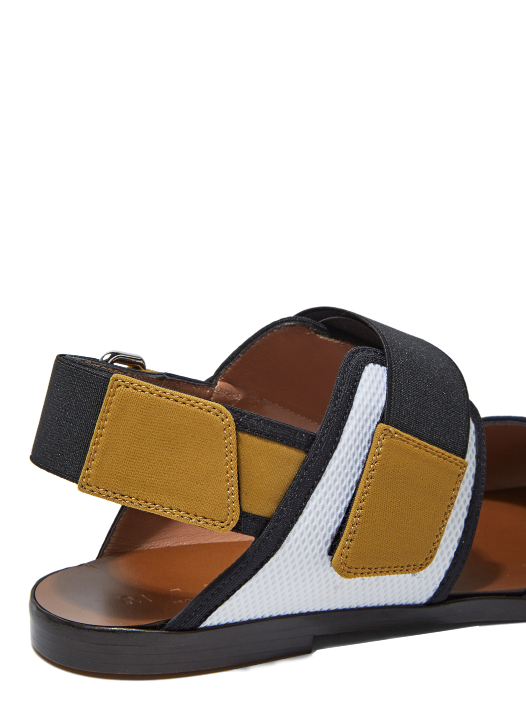 Marni Two Toned Cotton And Leather Sandals In Natural Lyst