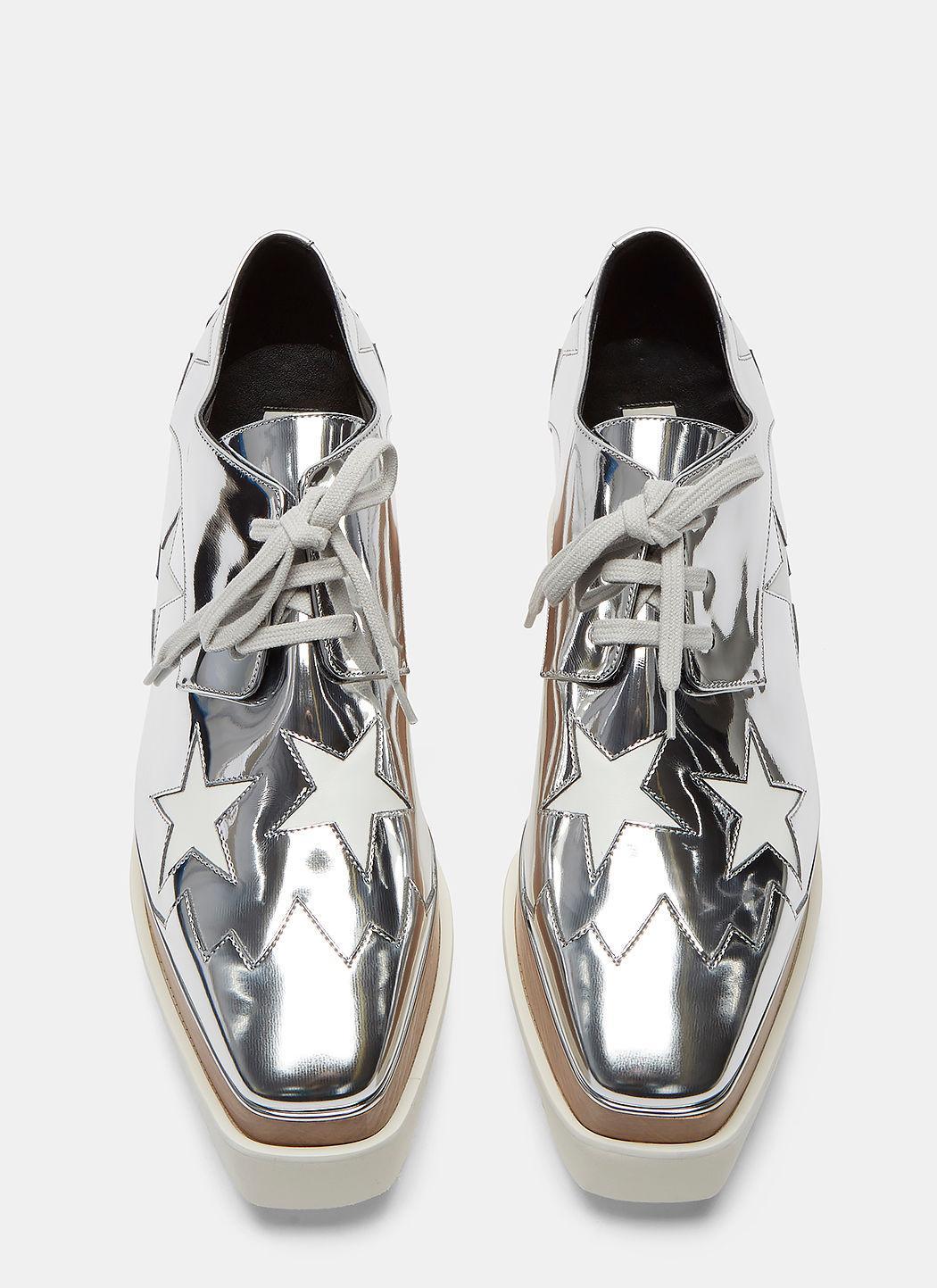 Stella McCartney Synthetic Women's Elyse Hackney Metallic Star Platform Shoes In Silver