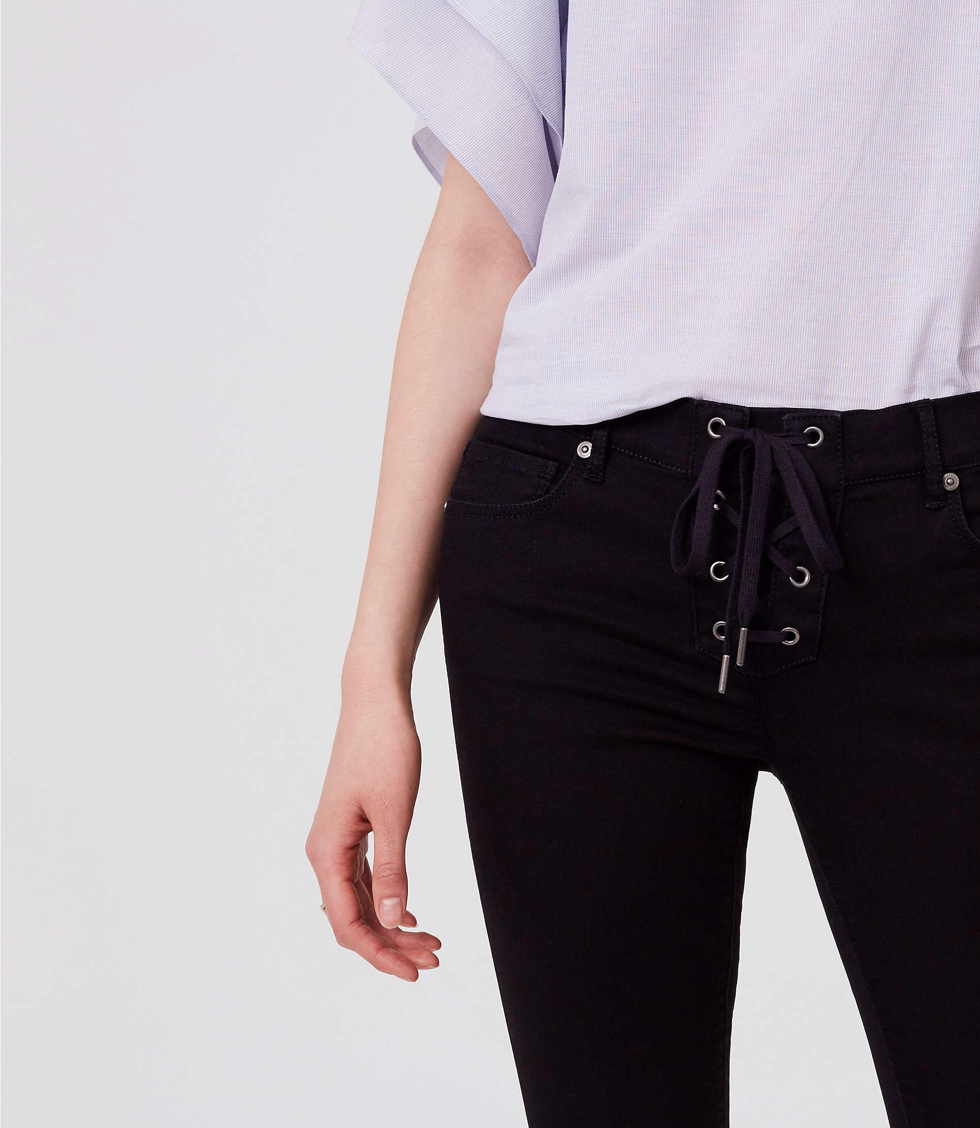 LOFT Denim Petite Modern Lace Up Skinny Jeans In Black