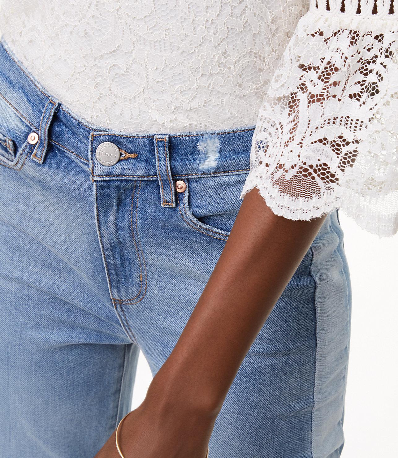 LOFT Denim Side Stripe Vintage Straight Jeans In Light Indigo Wash in Blue