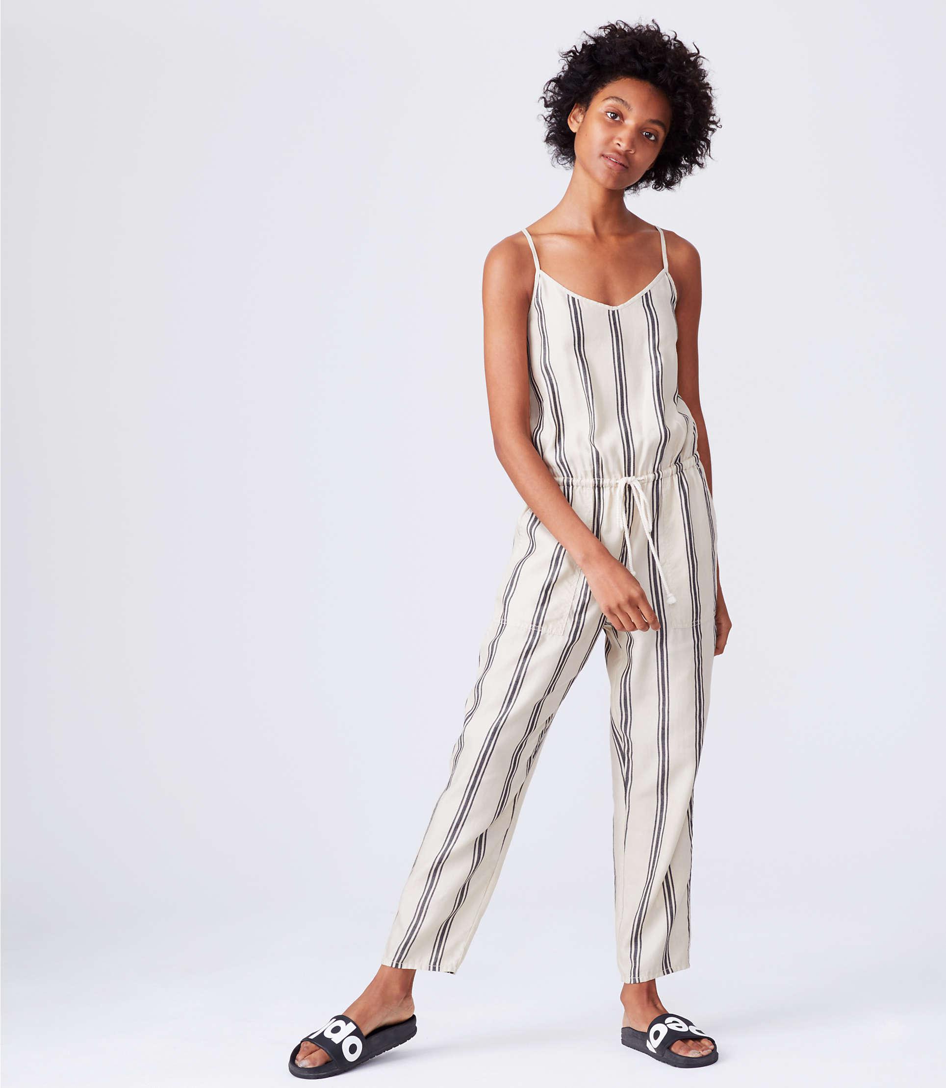 8cb1bf7fc18 LOFT - Gray Lou   Grey Striped Cami Jumpsuit - Lyst. View fullscreen