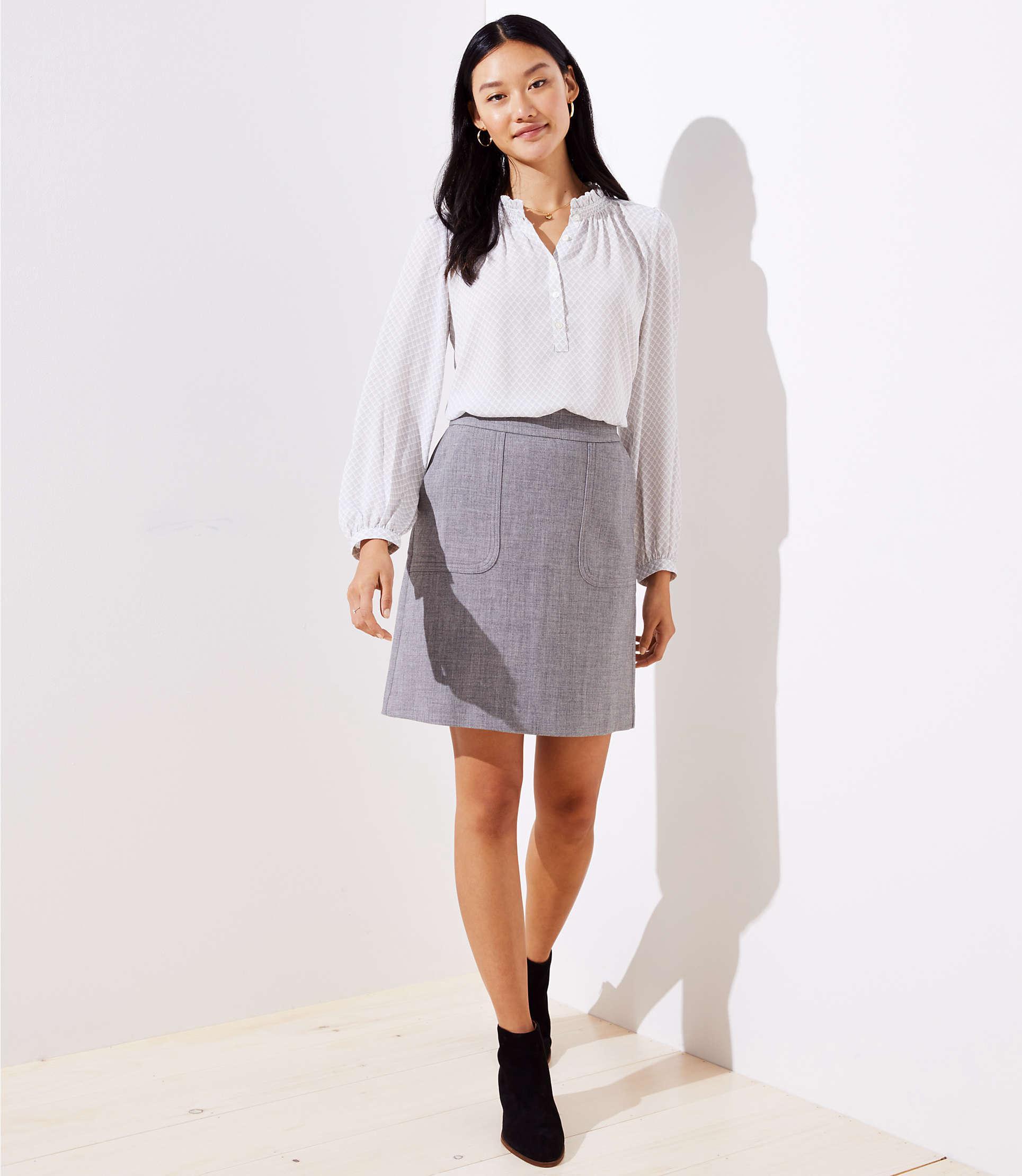 2e09863e2 LOFT Pocket Shift Skirt in Gray - Lyst