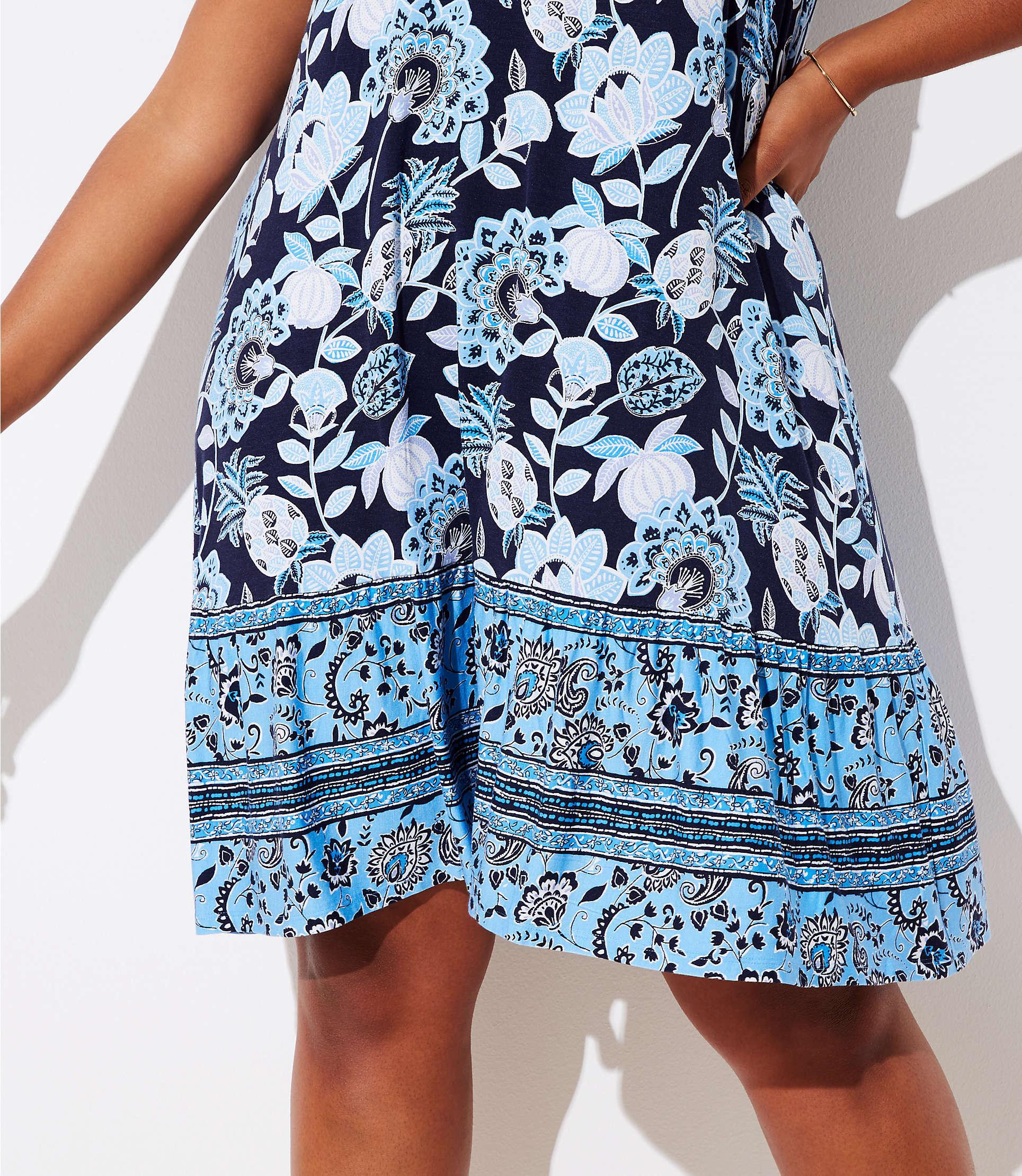 6005f02240 Lyst - LOFT Plus Pineapple Dream Ruffle Sleeveless Swing Dress in Blue