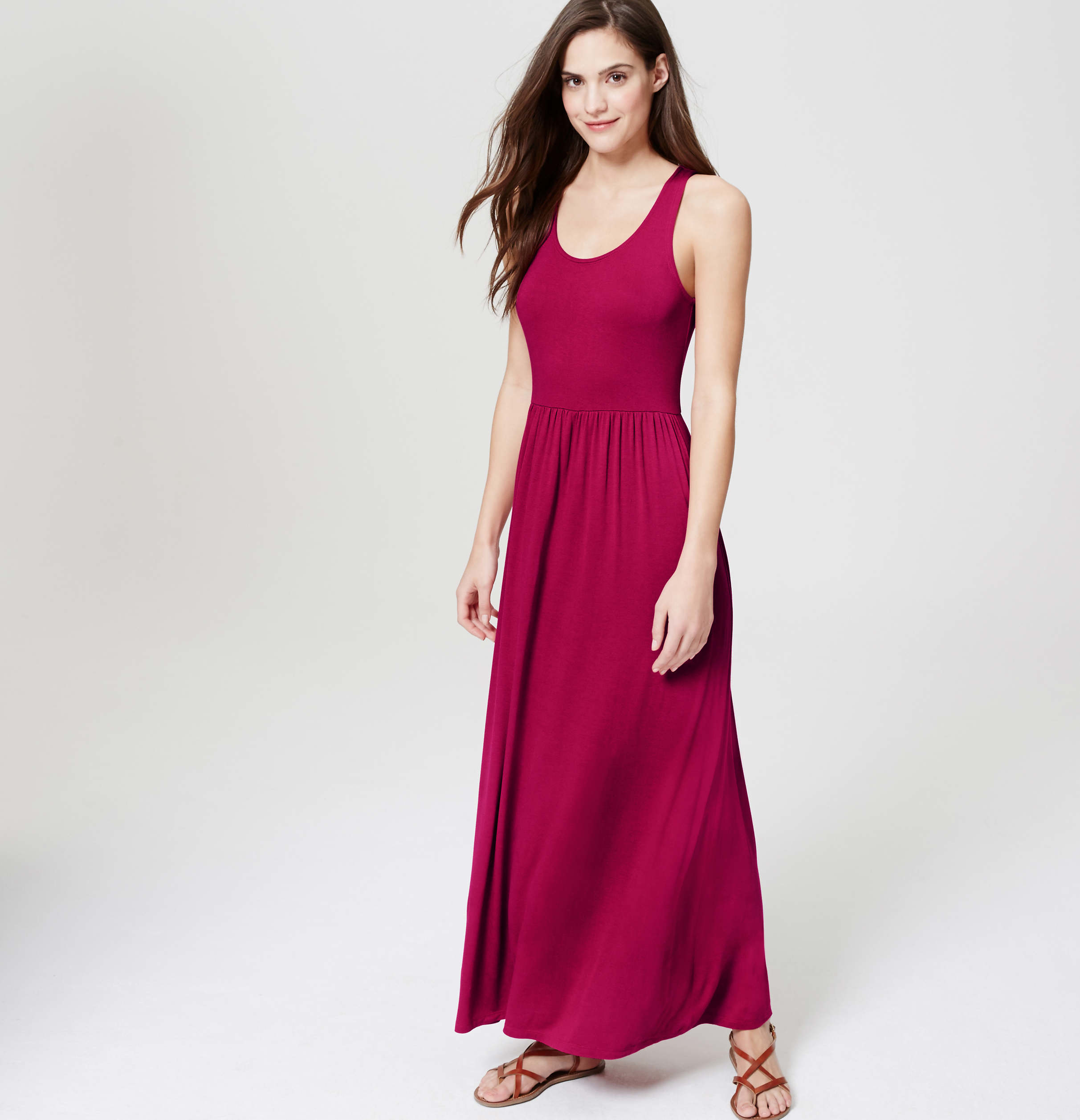 Loft tall scoop neck maxi dress in pink lyst for Ann taylor loft fashion island