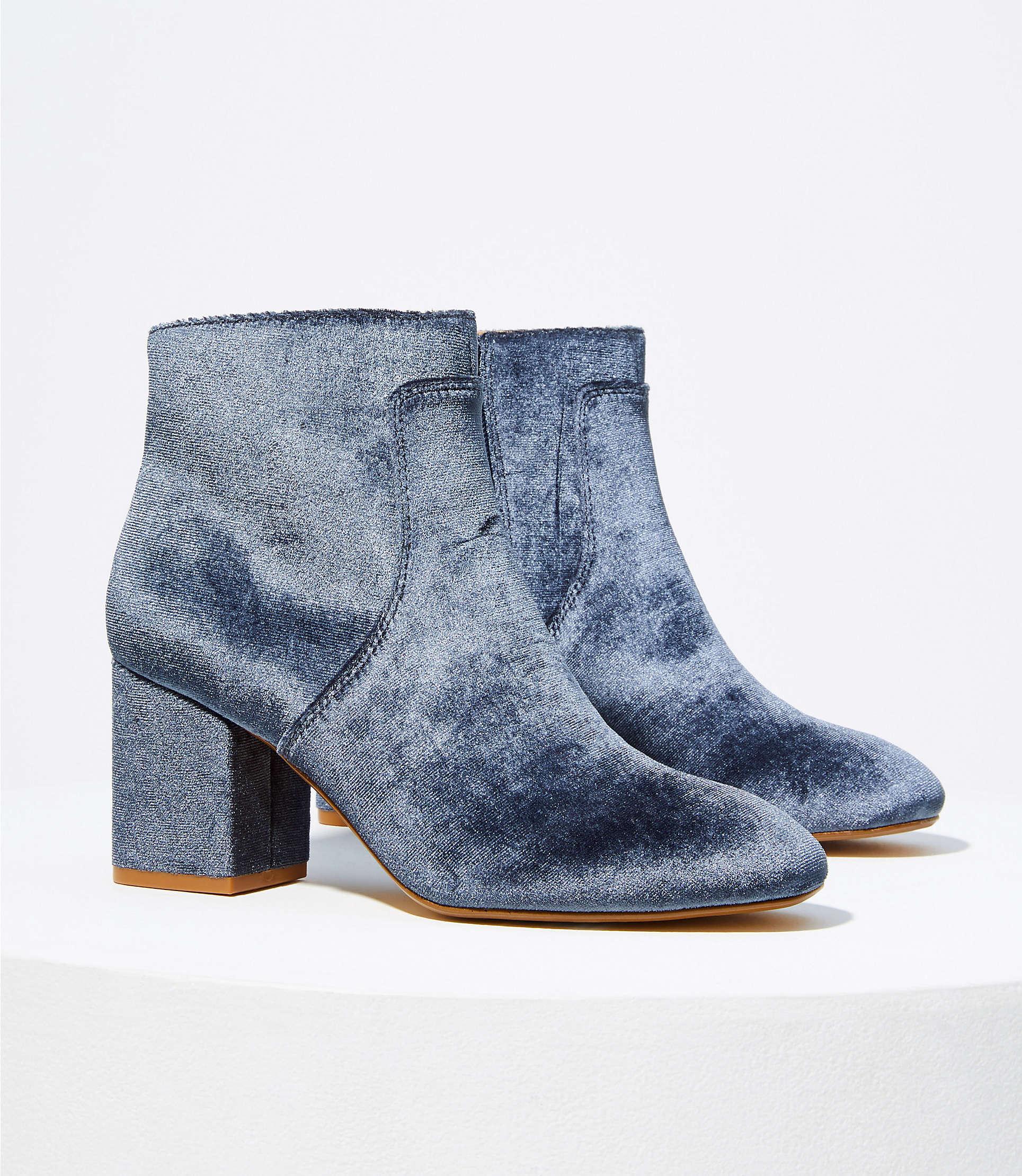 Velvet Block Heel Ankle Boots