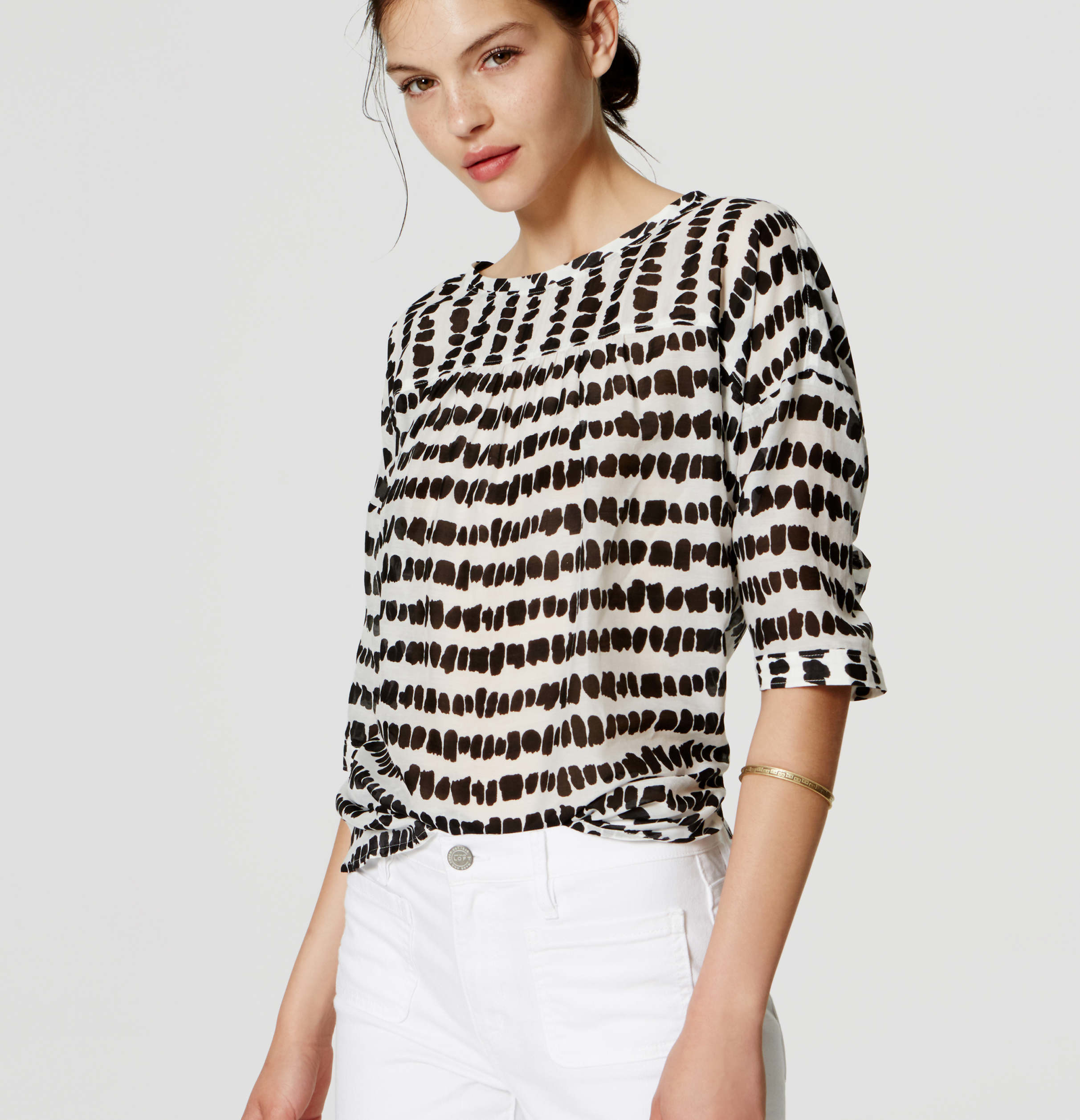 Lyst Loft Petite Spot Stripe Drop Shoulder Blouse In White