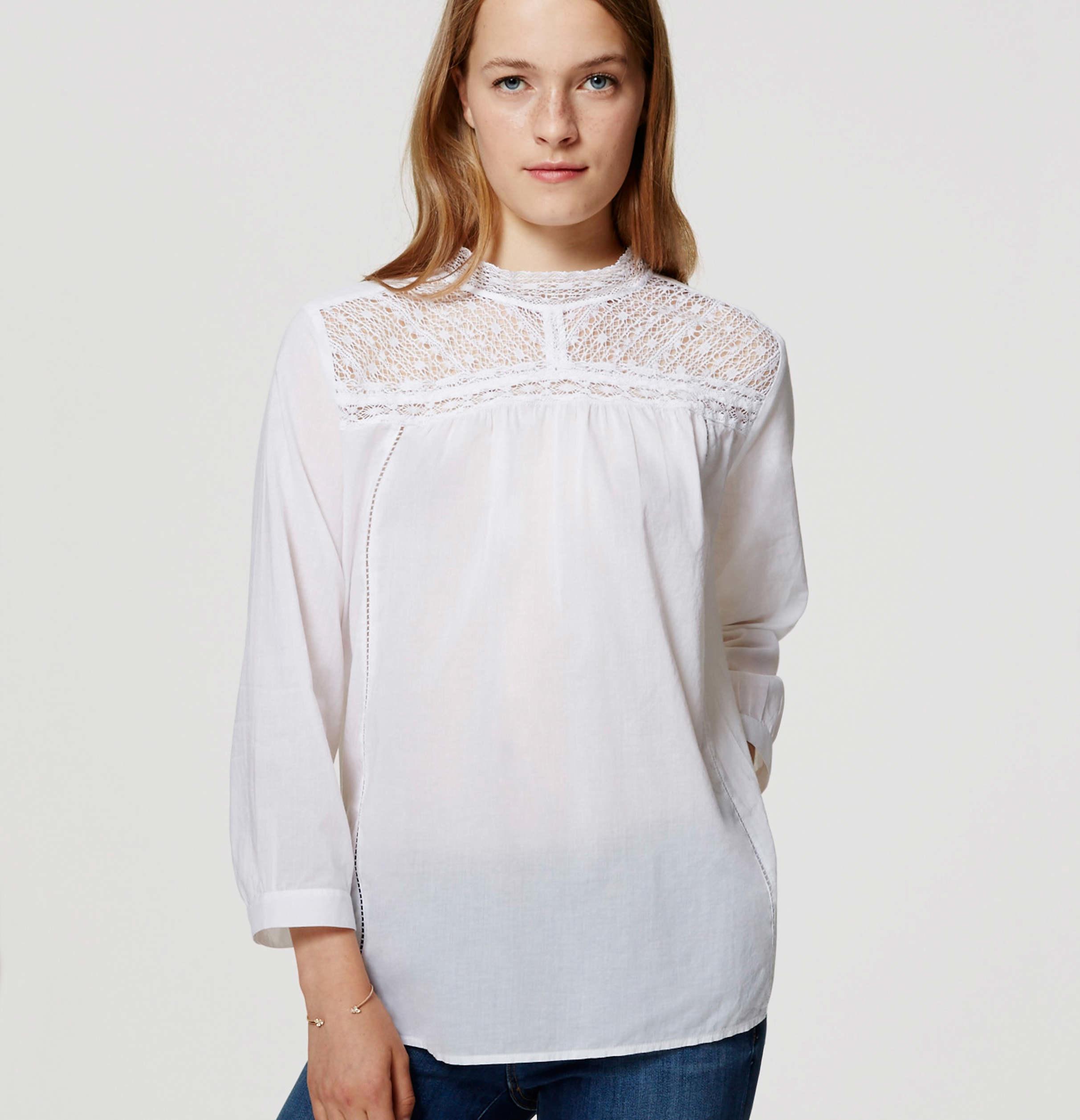 Lyst Loft Lacy Mock Neck Shirt In White