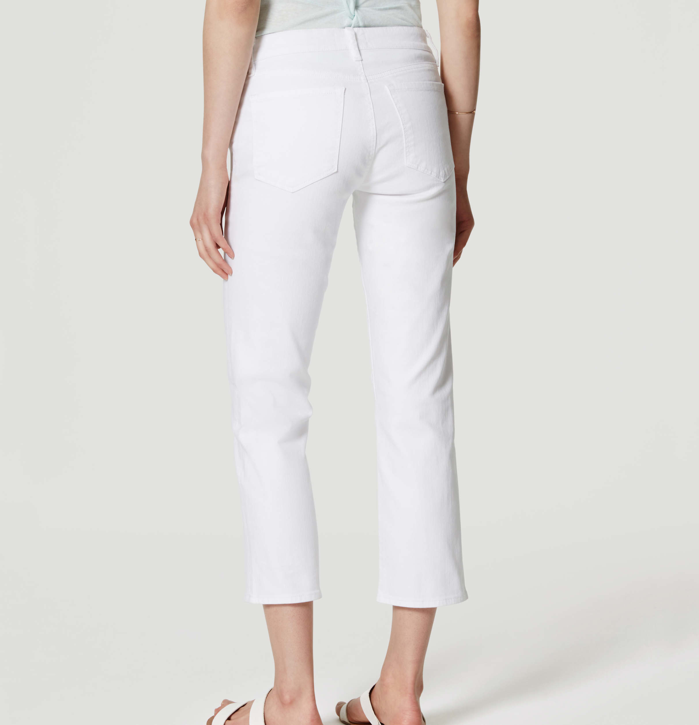 LOFT Denim Straight Crop Jeans In White
