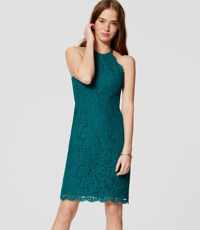 Ann taylor loft green lace dress