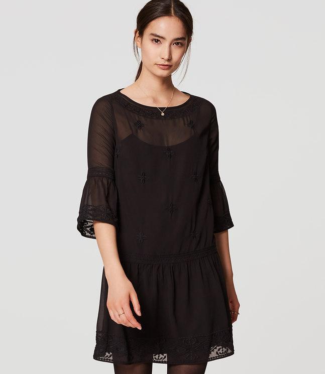 Loft Petite Lacy Flounce Dress In Black Lyst