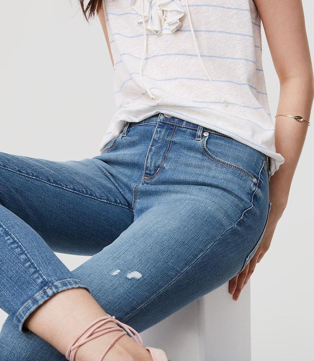 LOFT Denim Petite Modern Skinny Ankle Jeans In Destructed Light Stonewash in Light Stone Wash (Blue)