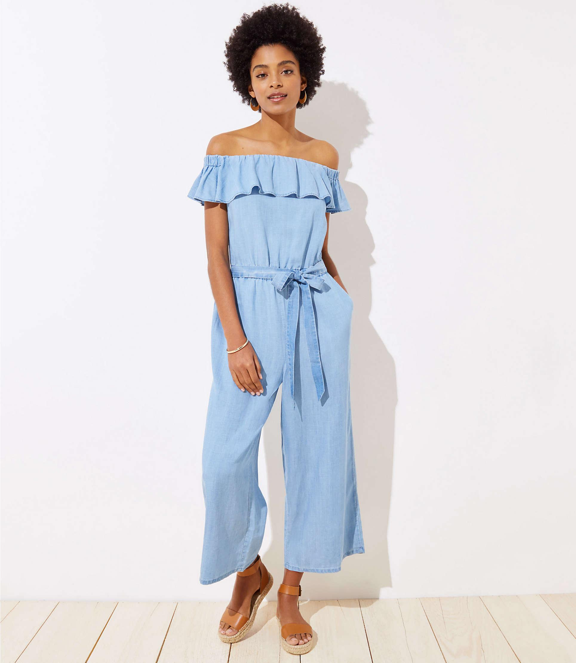 a8bb96a6fb118d LOFT Beach Chambray Off The Shoulder Jumpsuit in Blue - Lyst