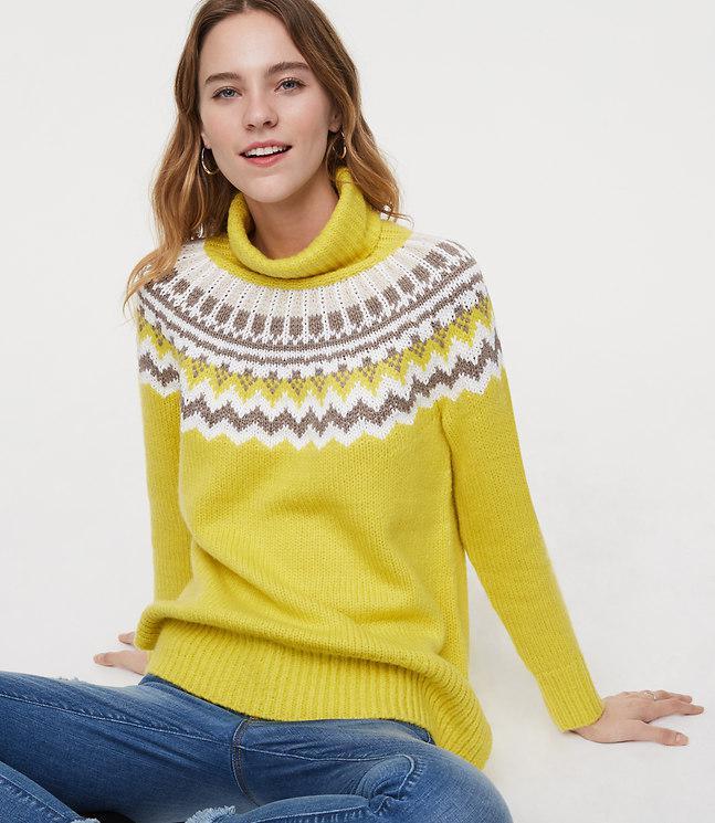 Loft Fairisle Turtleneck Sweater in Yellow | Lyst
