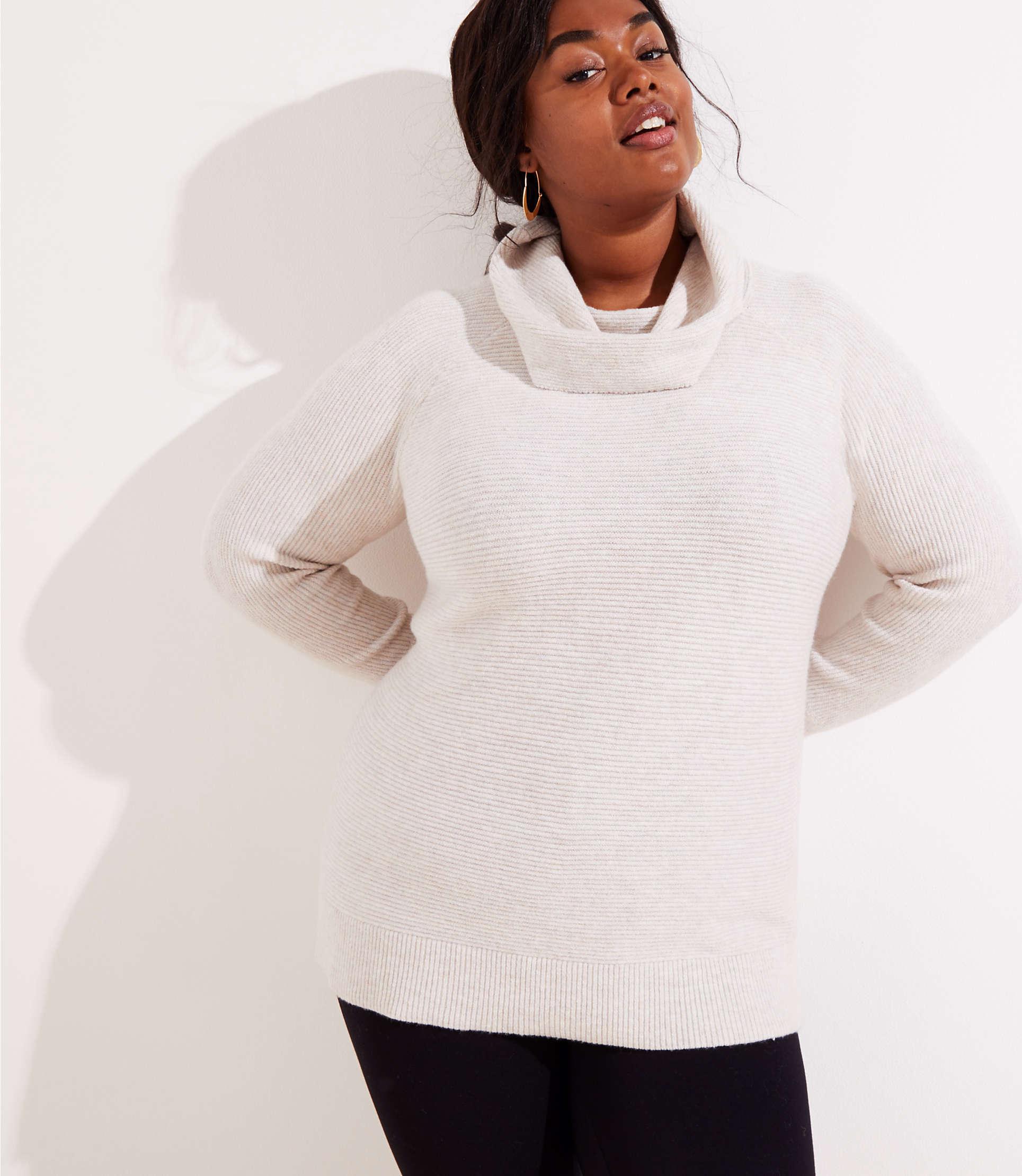 ef8928c4ee4 Lyst - LOFT Plus Cowl Neck Tunic Sweater