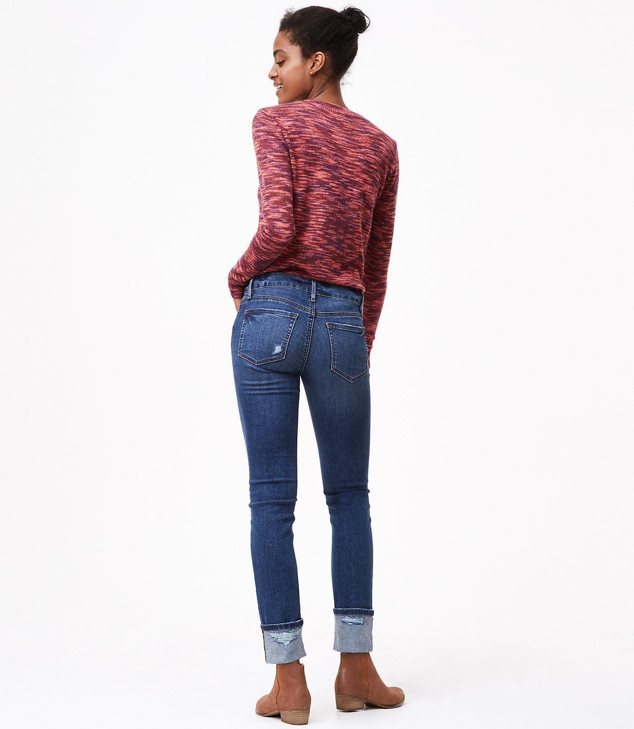 LOFT Denim Modern Frayed Cuff Straight Leg Jeans In Destructed Mid Indigo Wash in Blue