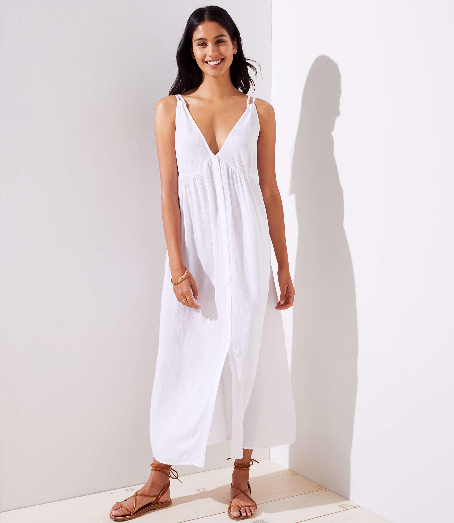3202052572c LOFT Beach Strappy Button Down Maxi Dress in White - Lyst