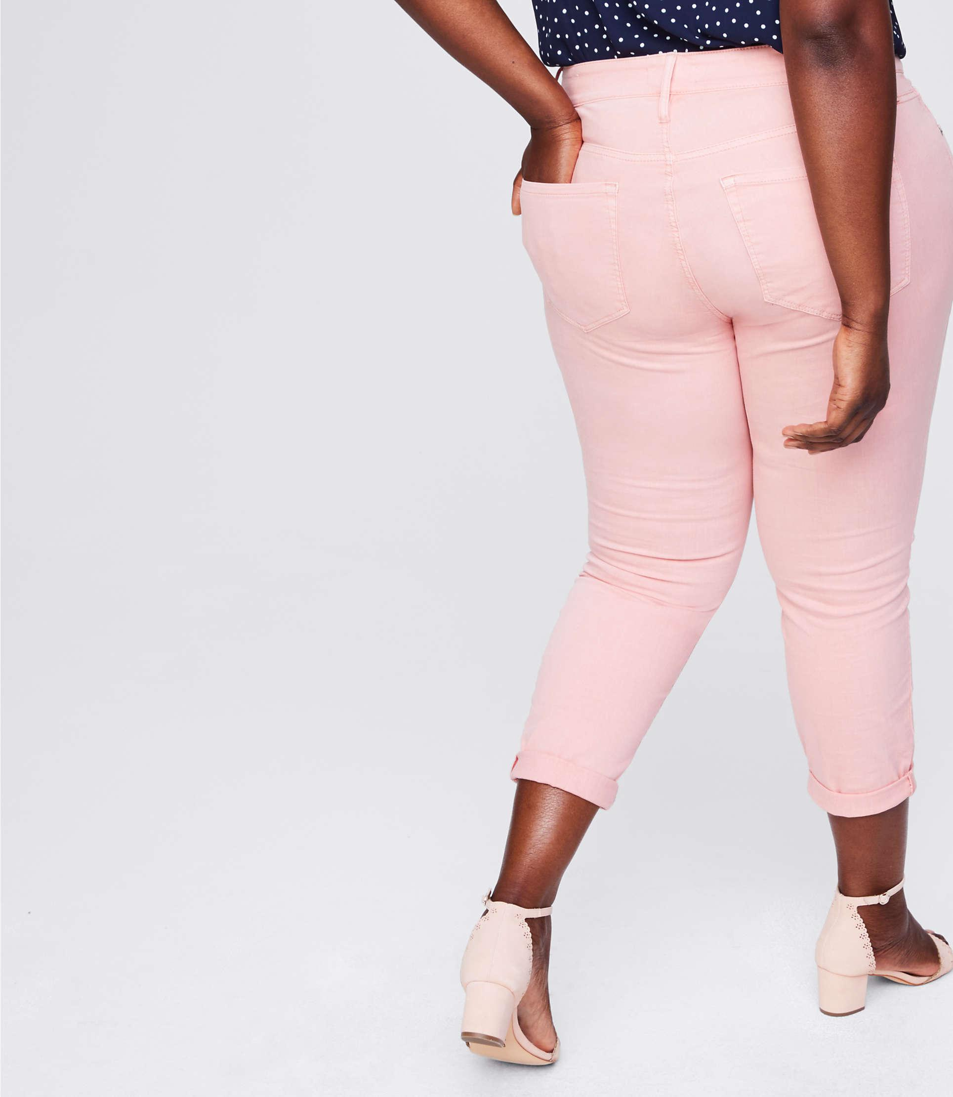LOFT Denim Plus Skinny Crop Jeans in Peach Sorbet (Pink)
