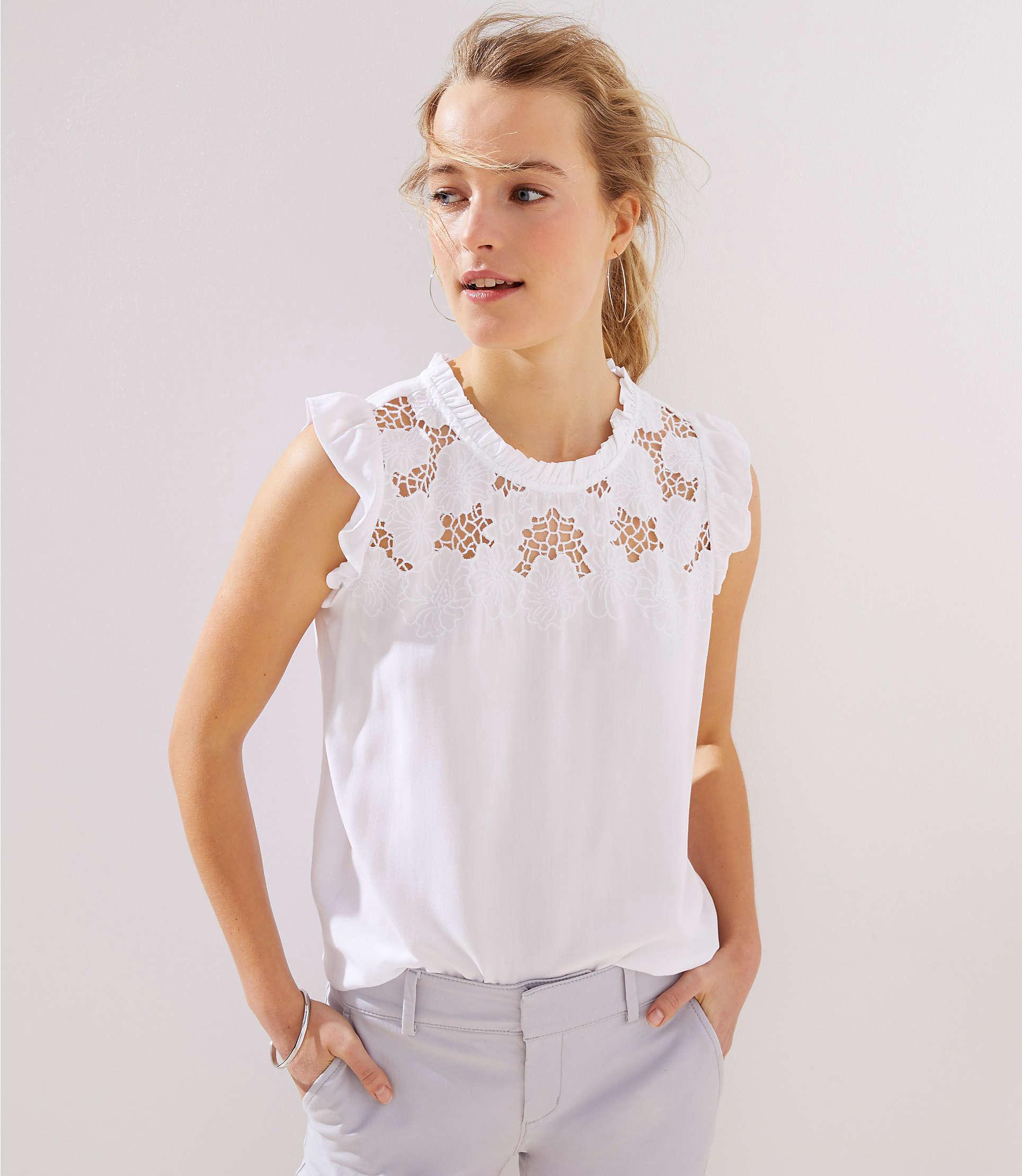 ee8c8e3eeee89 Lyst - LOFT Petite Floral Lace Yoke Ruffle Shell in White