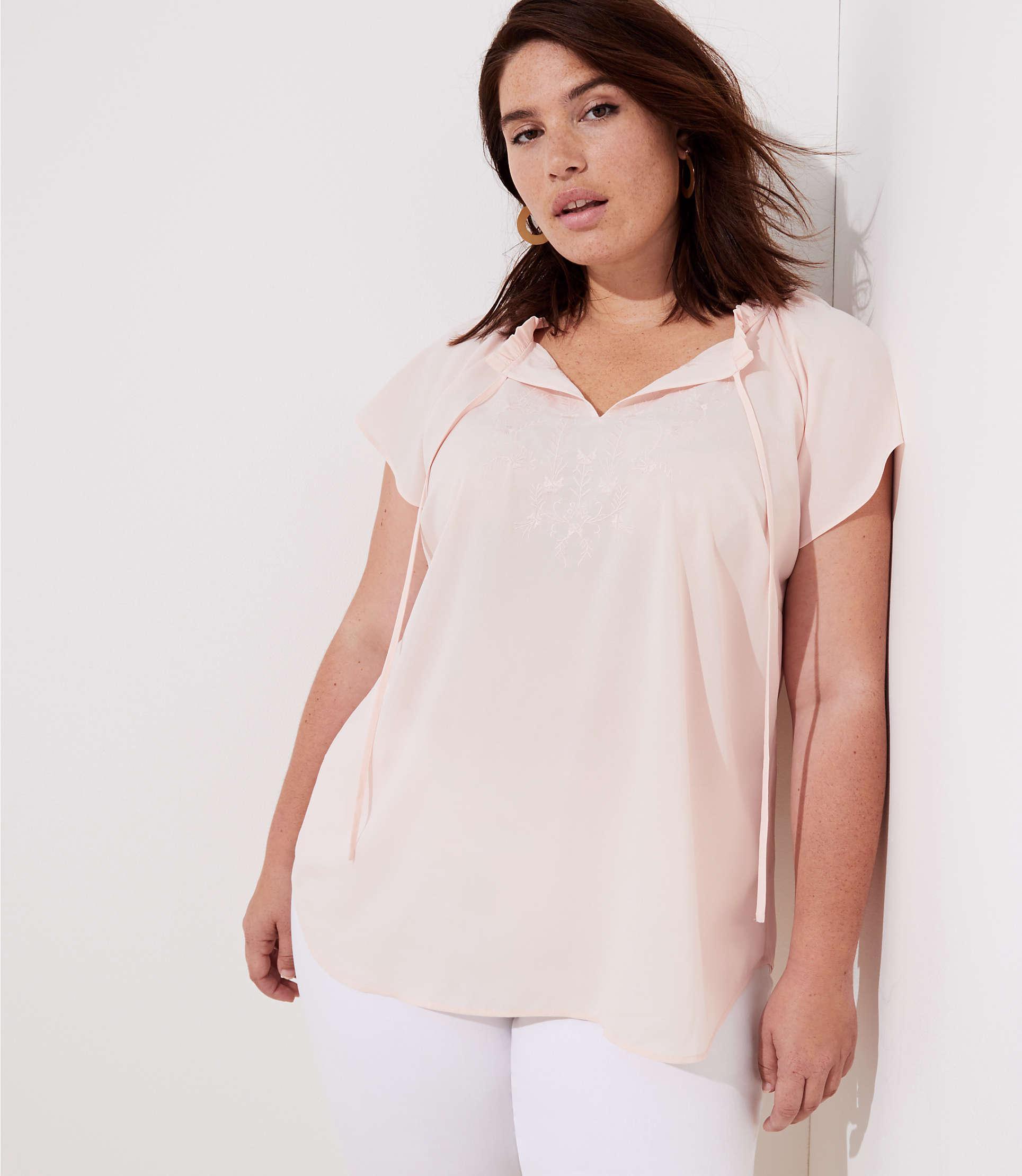 00e93e8776ad1a Lyst - LOFT Plus Embroidered Ruffle Tie Neck Top in Pink