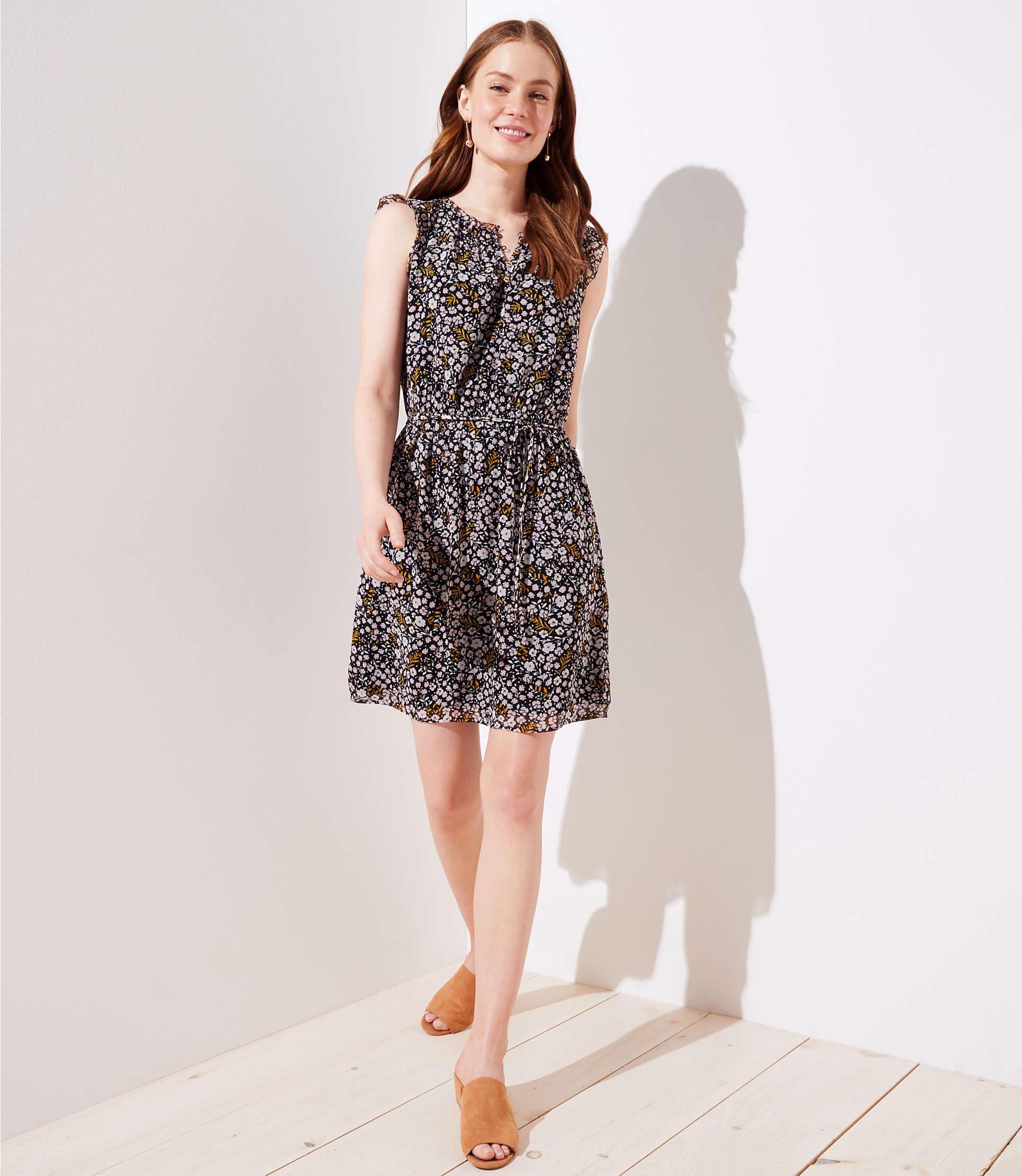 7ae8784ffe Lyst - LOFT Floral Ruffle Henley Dress in Black