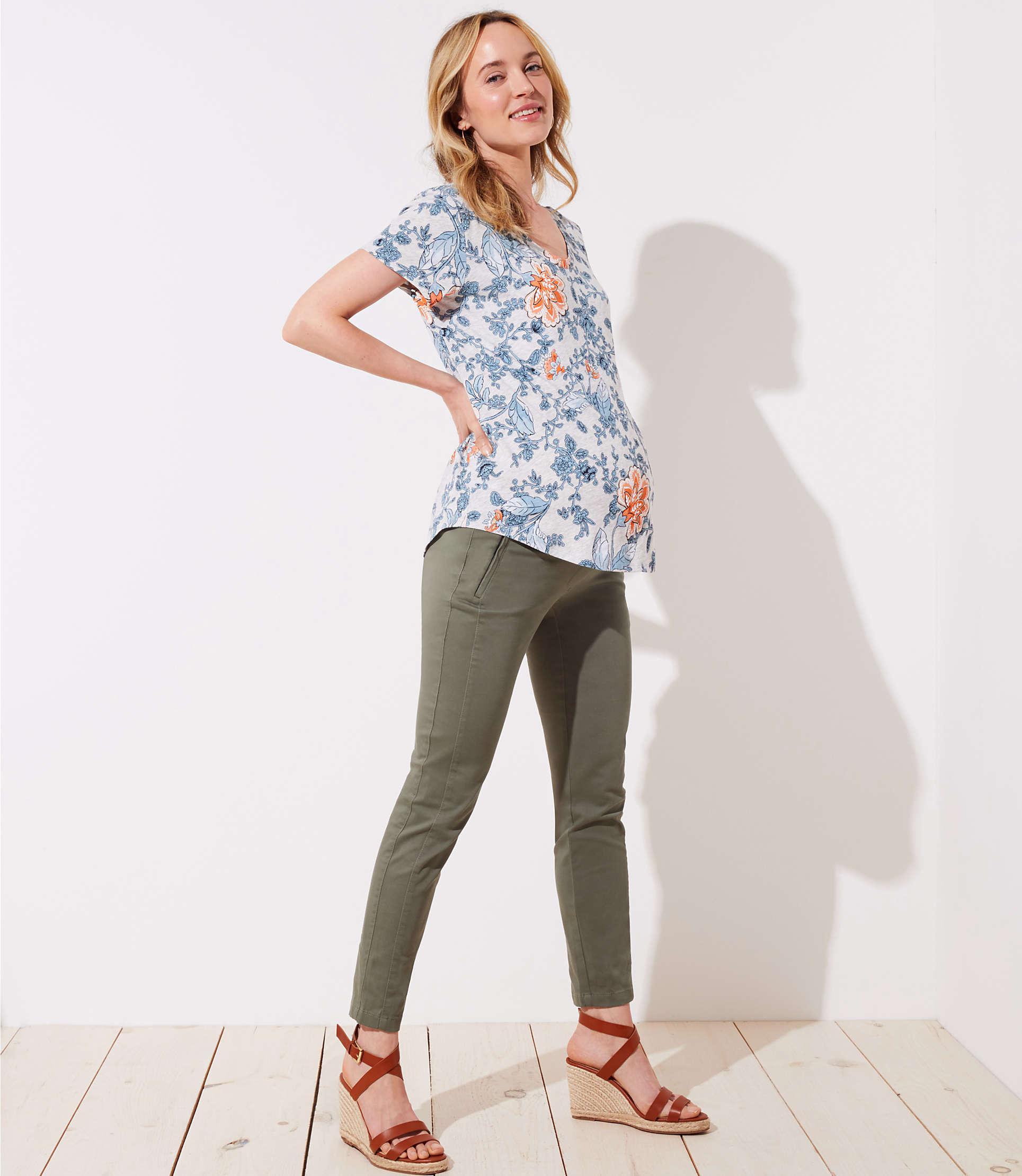 2c0c91563e LOFT. Women s Petite Maternity Skinny Zip Pocket Sateen Trousers