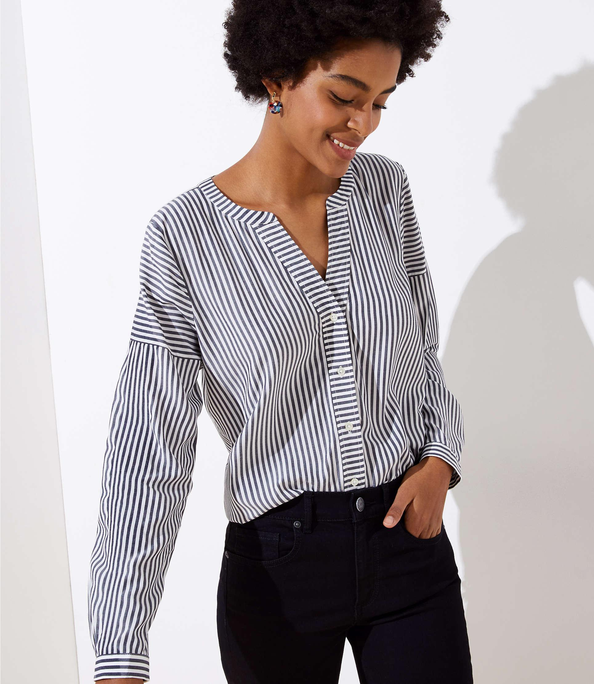 b2f92e4bda713d Lyst - LOFT Petite Mixed Stripe Split Neck Shirt in White - Save 42%
